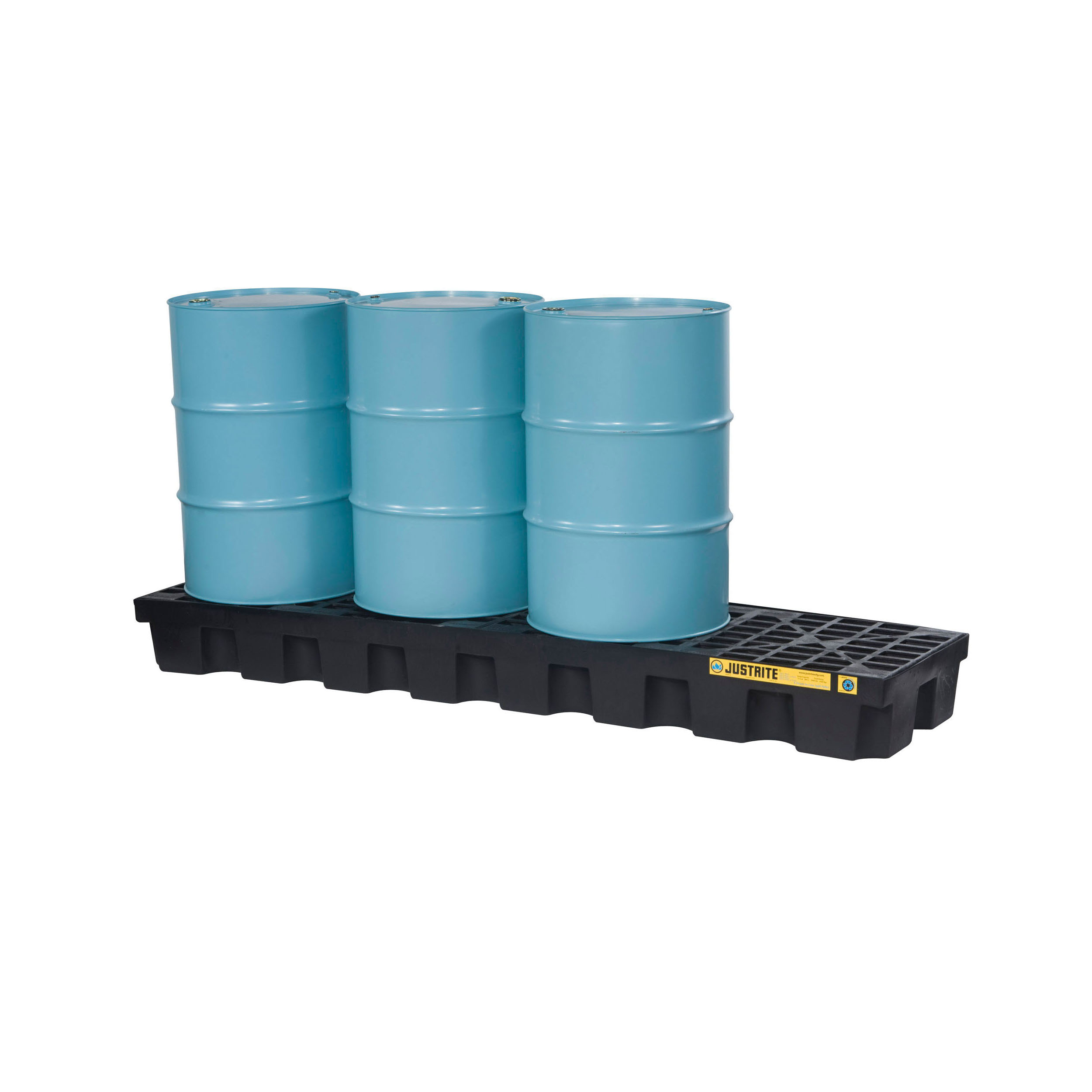 Justrite® 28633 EcoPolyBlend™ Spill Control Pallet With Drain, 4 Drums, 75 gal Spill, 5000 lb Load, 100% Recycled Polyethylene