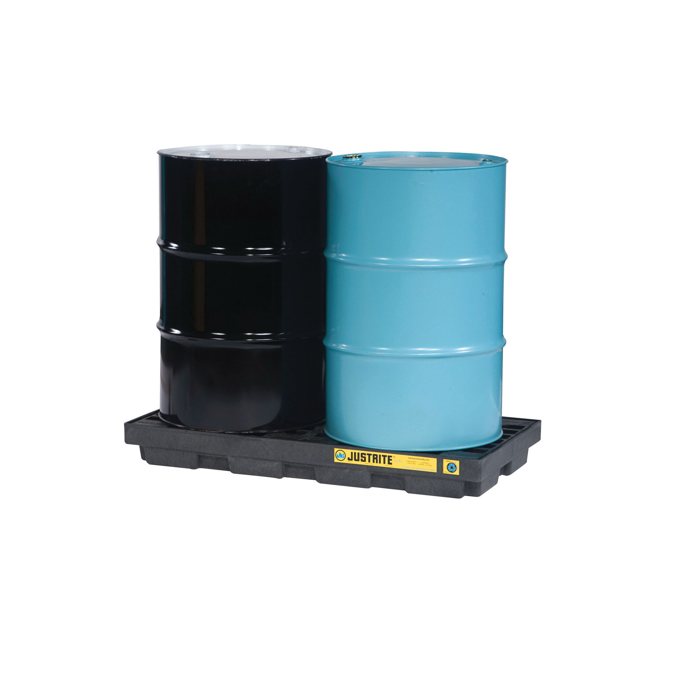 Justrite® 28655 EcoPolyBlend™ Accumulation Center, 2 Drums, 24 gal Spill, 2500 lb Load, 100% Recycled Polyethylene