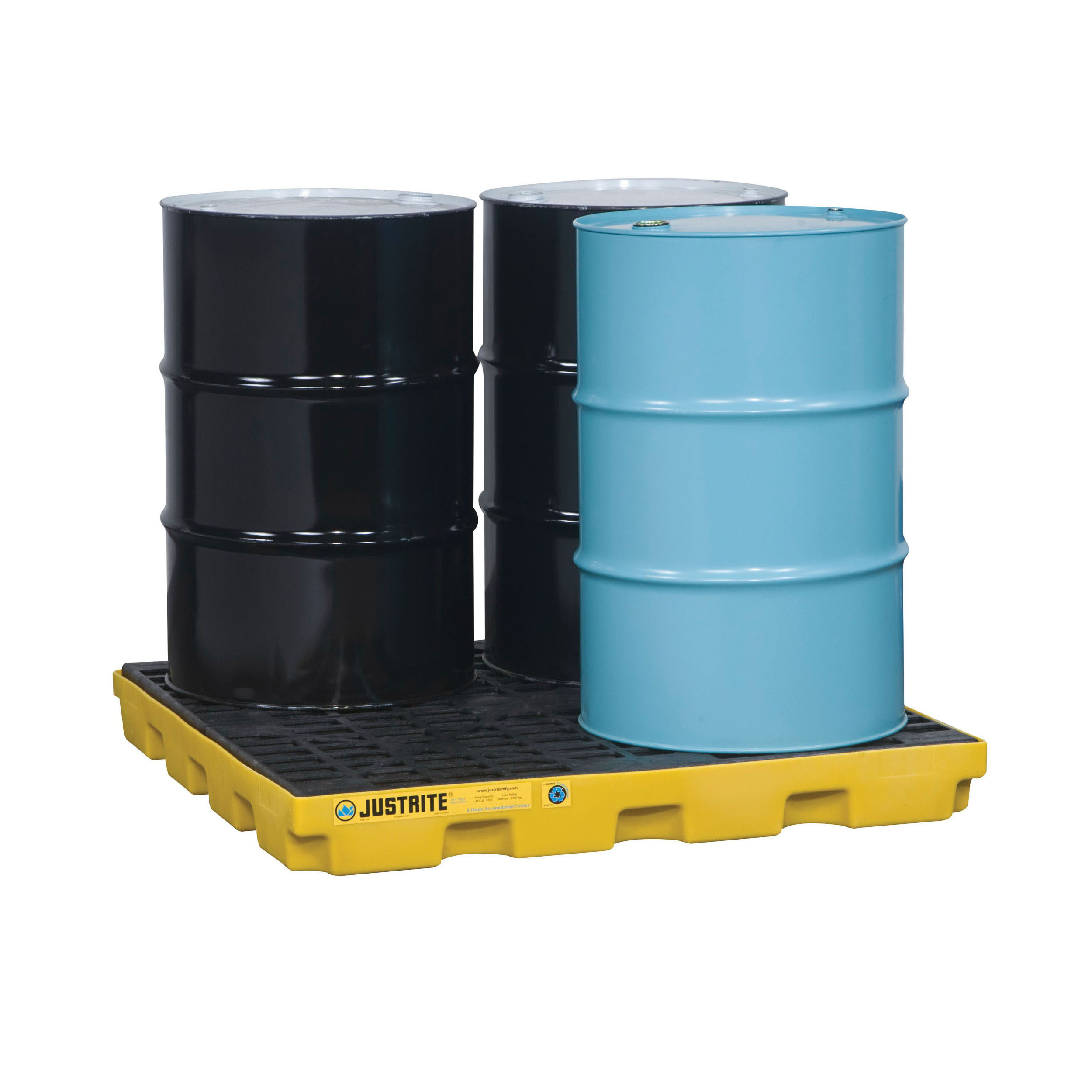 Justrite® 28656 EcoPolyBlend™ Accumulation Center, 4 Drums, 49 gal Spill, 5000 lb Load, 45% Recycled Polyethylene