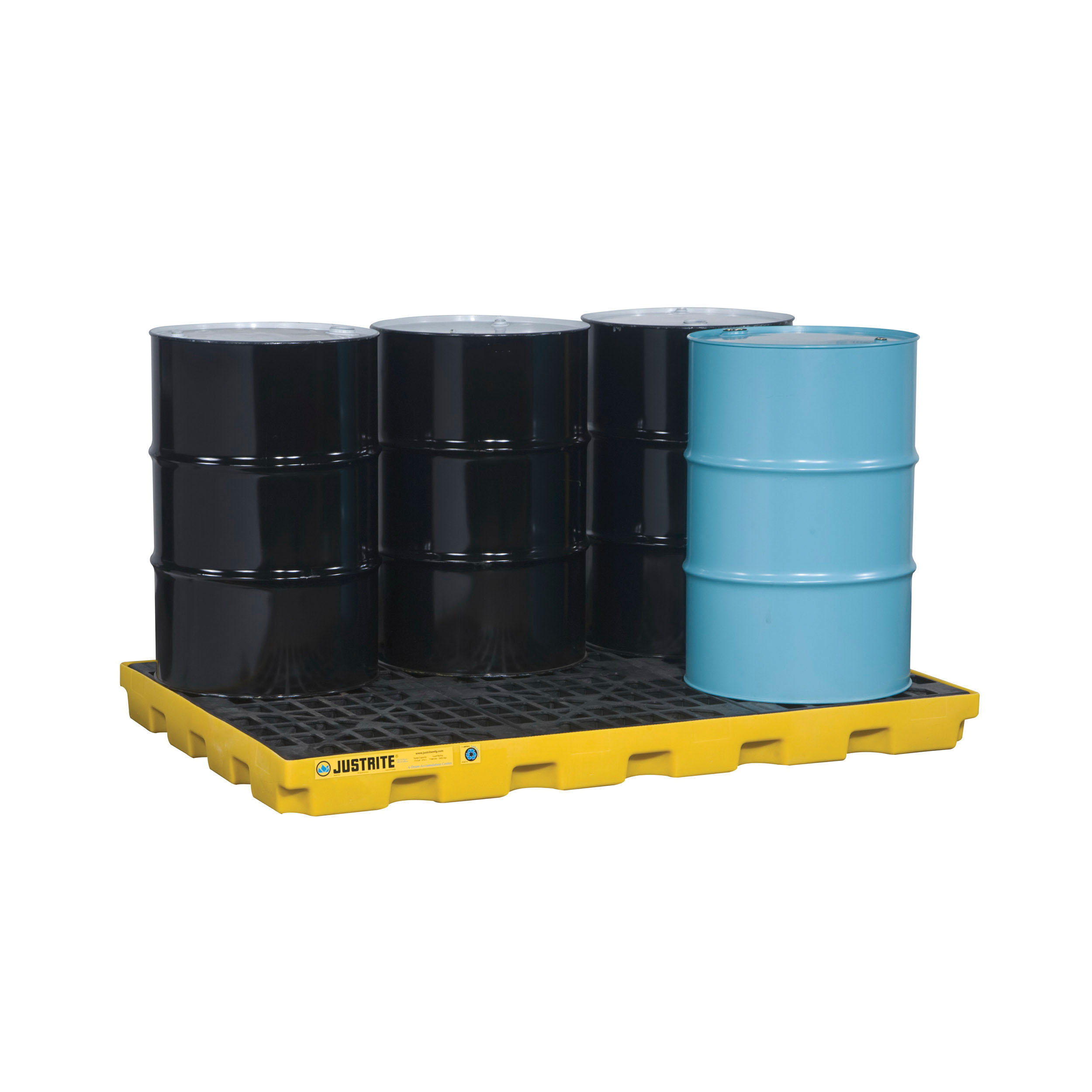 Justrite® 28658 EcoPolyBlend™ Accumulation Center, 6 Drums, 73 gal Spill, 7500 lb Load, 45% Recycled Polyethylene