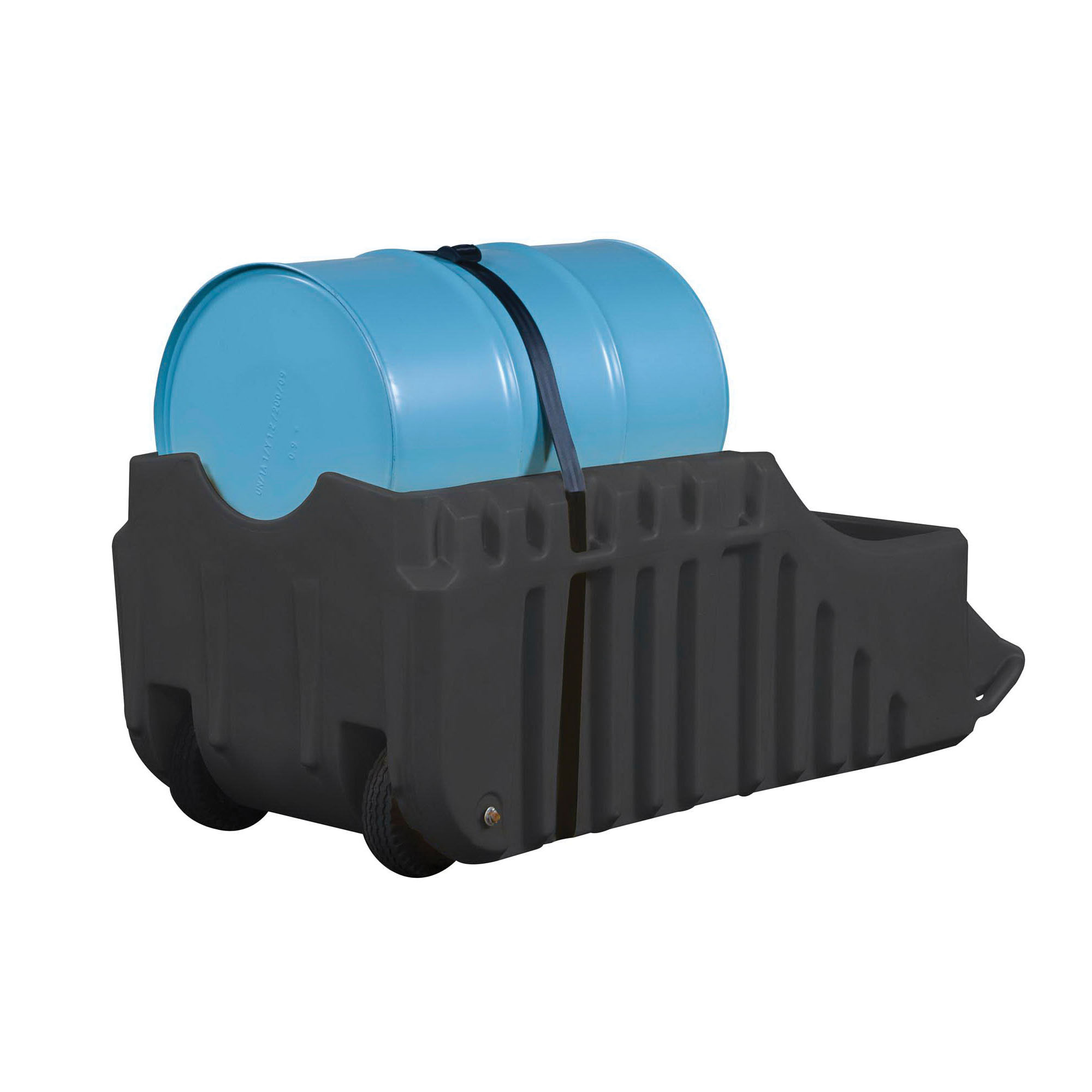 Justrite® 28665 EcoPolyBlend™ Spill Containment Caddy, 1 Drums, 1250 lb Load, 66 gal Spill, Recycled Polyethylene, Black