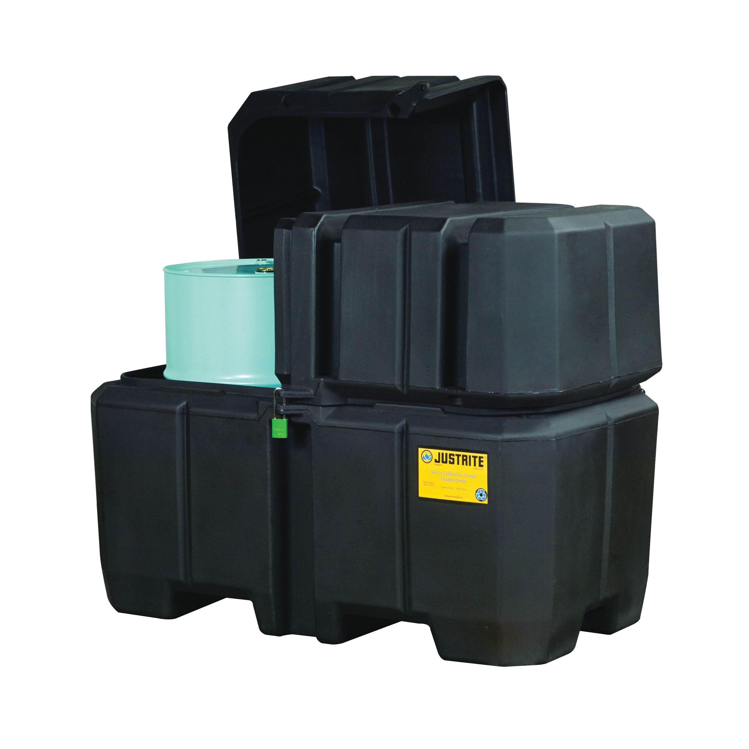 Justrite® 28683 EcoPolyBlend™ Double Drum Collection Center, 2500 lb Load, 180 gal Spill, 39 in OD Dia x 47 in H, Black