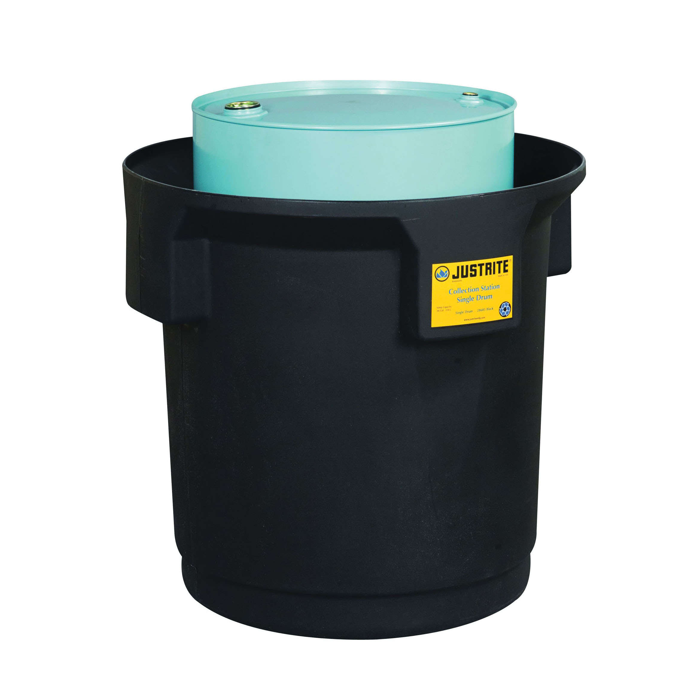 Justrite® 28685 EcoPolyBlend™ Single Drum Collection Center, 1250 lb Load, 66 gal Spill, 31 in ID x 33 in OD Dia x 31-3/4 in H, Black