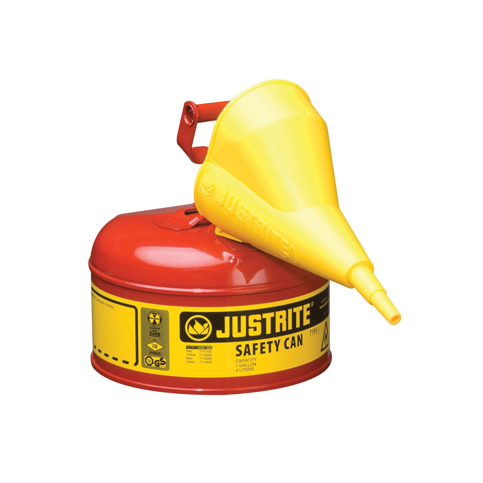Justrite® 7110110 Type I Safety Can With Swinging Handle, Stainless Steel Flame Arrester and 11202Y 1/2 in OD x 11-1/4 in H Polypropylene Funnel, 1 gal Capacity, 9-1/2 in Dia x 11 in H, Steel, Red