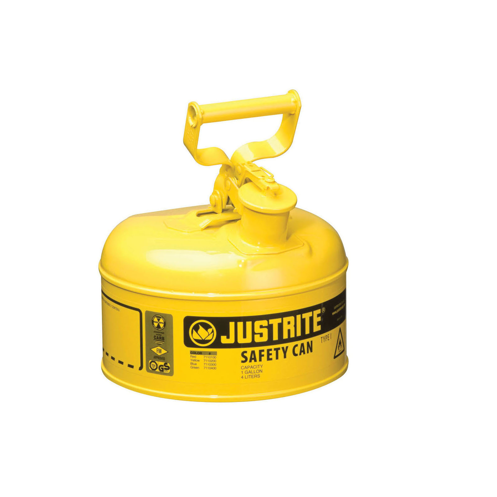 Justrite® 7110200 Type I Safety Can With Swinging Handle and Stainless Steel Flame Arrester, 1 gal Capacity, 9-1/2 in Dia x 11 in H, Steel, Yellow