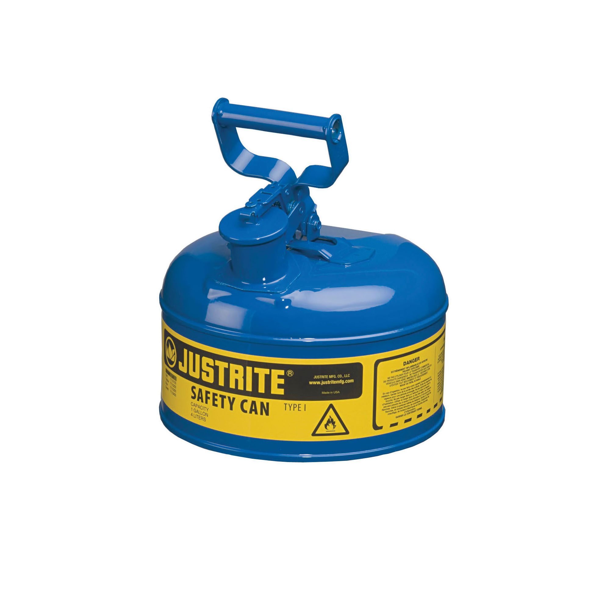 Justrite® 7110300 Type I Safety Can With Swinging Handle and Stainless Steel Flame Arrester, 1 gal Capacity, 9-1/2 in Dia x 11 in H, Steel, Blue