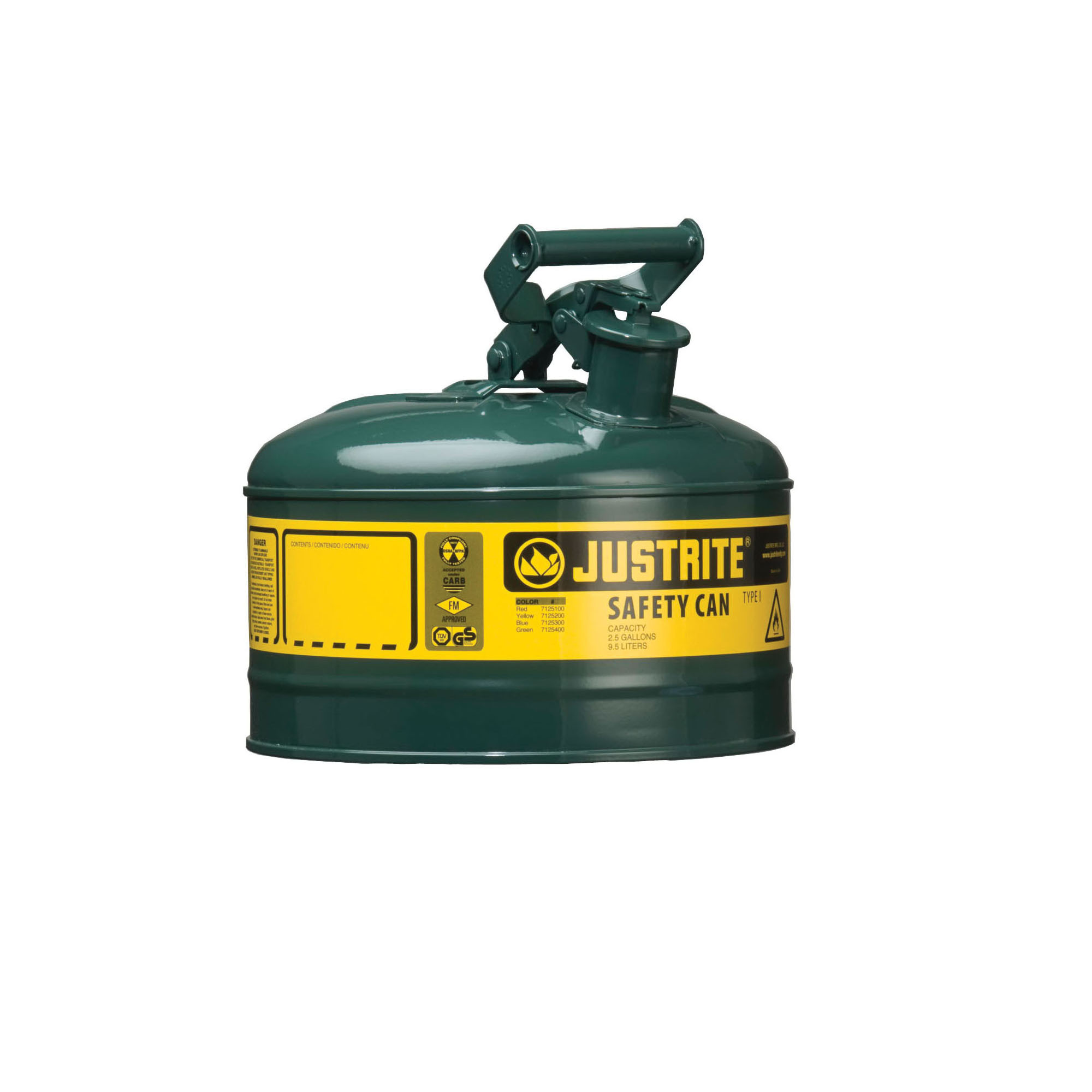 Justrite® 7110400 Type I Safety Can With Swinging Handle and Stainless Steel Flame Arrester, 1 gal Capacity, 9-1/2 in Dia x 11 in H, Steel, Green