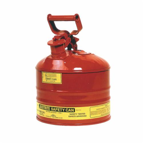 Justrite® 7125100 Type I Safety Can With Full Fisted Grip Handle, 2.5 gal Capacity, 11-3/4 in Dia x 11-1/2 in H, Galvanized Steel, Red