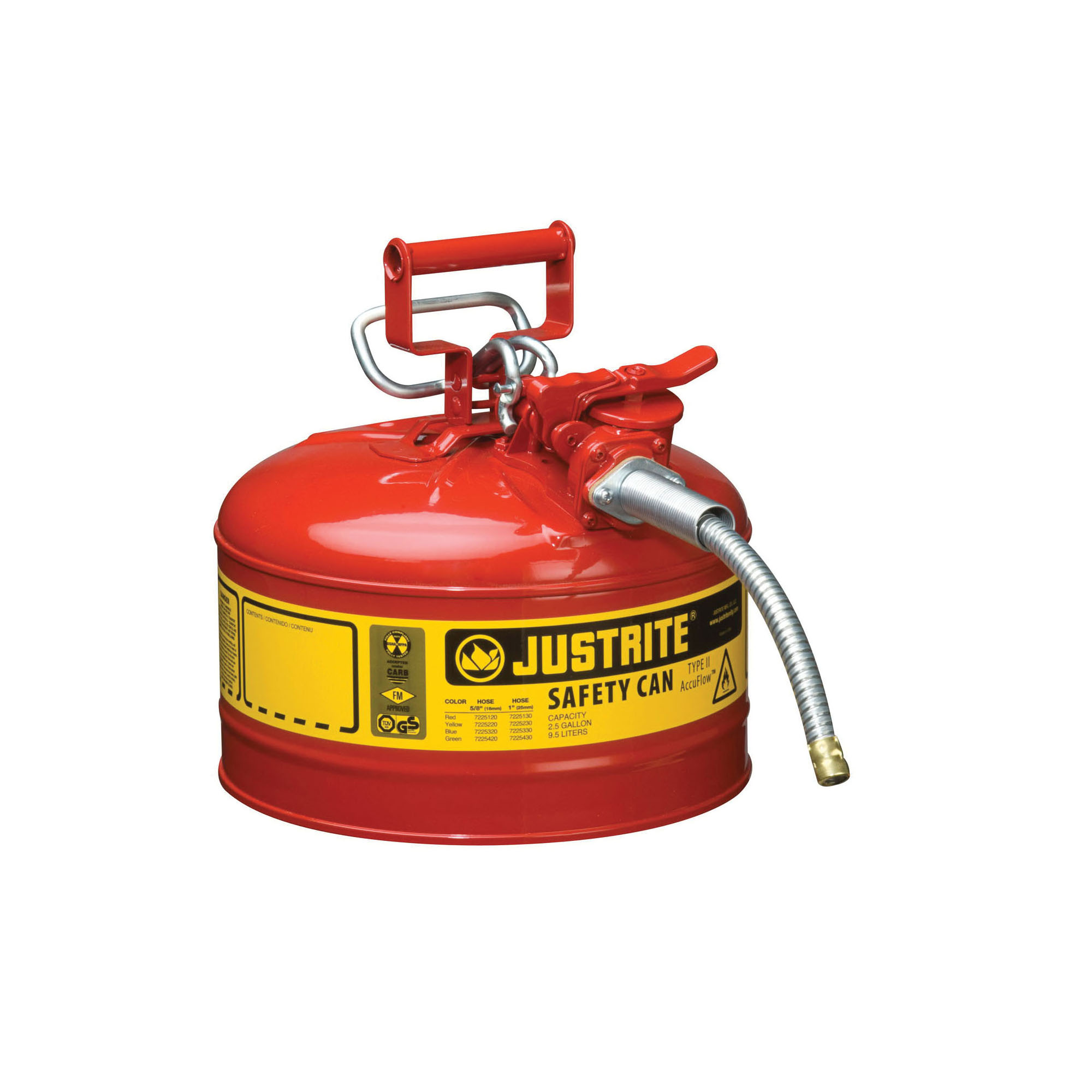 Justrite® Accuflow™ 7225120 Type II Safety Can With 5/8 in OD x 9 in L Metal Hose and Stainless Steel Flame Arrester, 2.5 gal Capacity, 11-3/4 in Dia x 12 in H, Steel, Red
