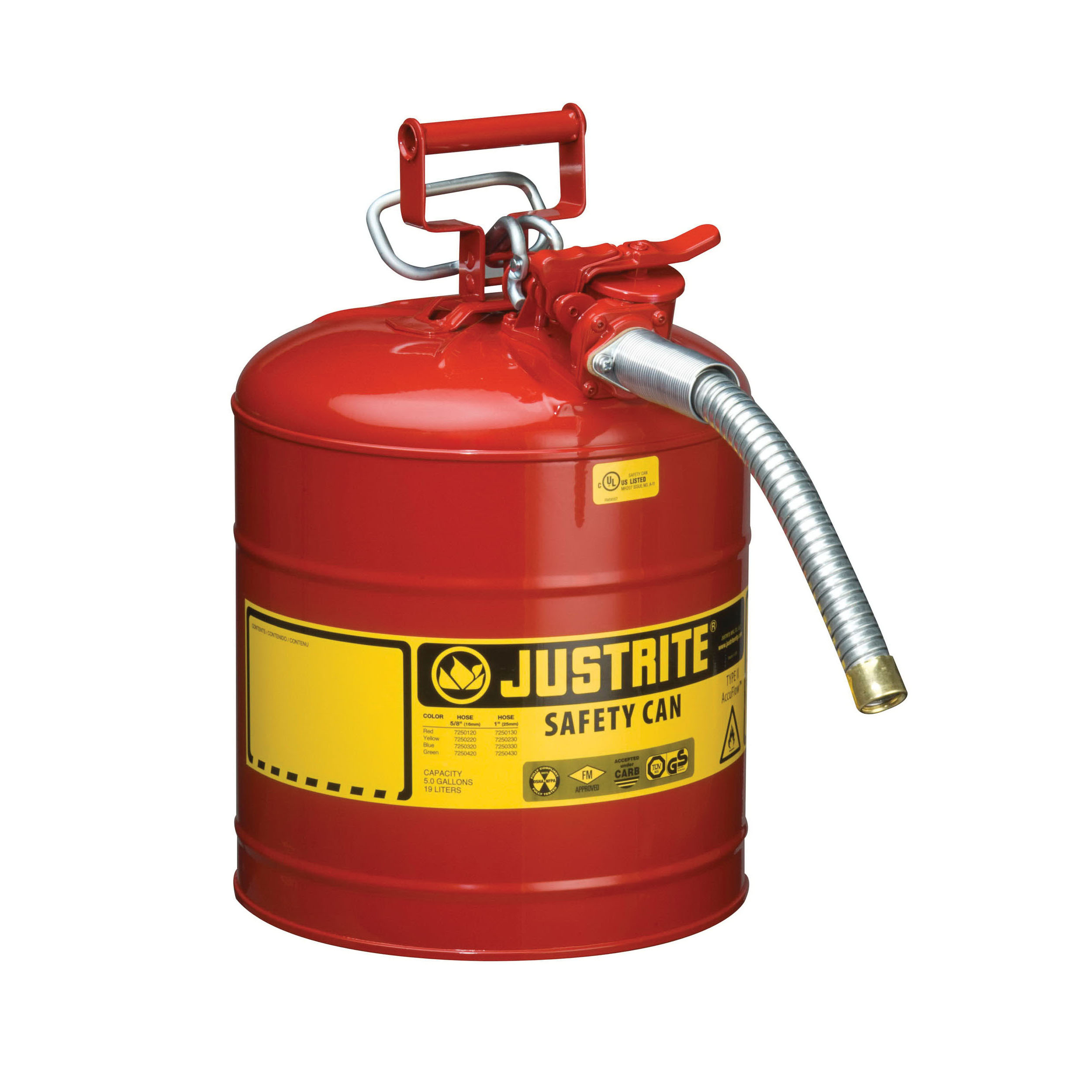 Justrite® Accuflow™ 7250130 Type II Safety Can With 1 in OD x 9 in L Metal Hose and Stainless Steel Flame Arrester, 5 gal Capacity, 11-3/4 in Dia x 17-1/2 in H, Steel, Red