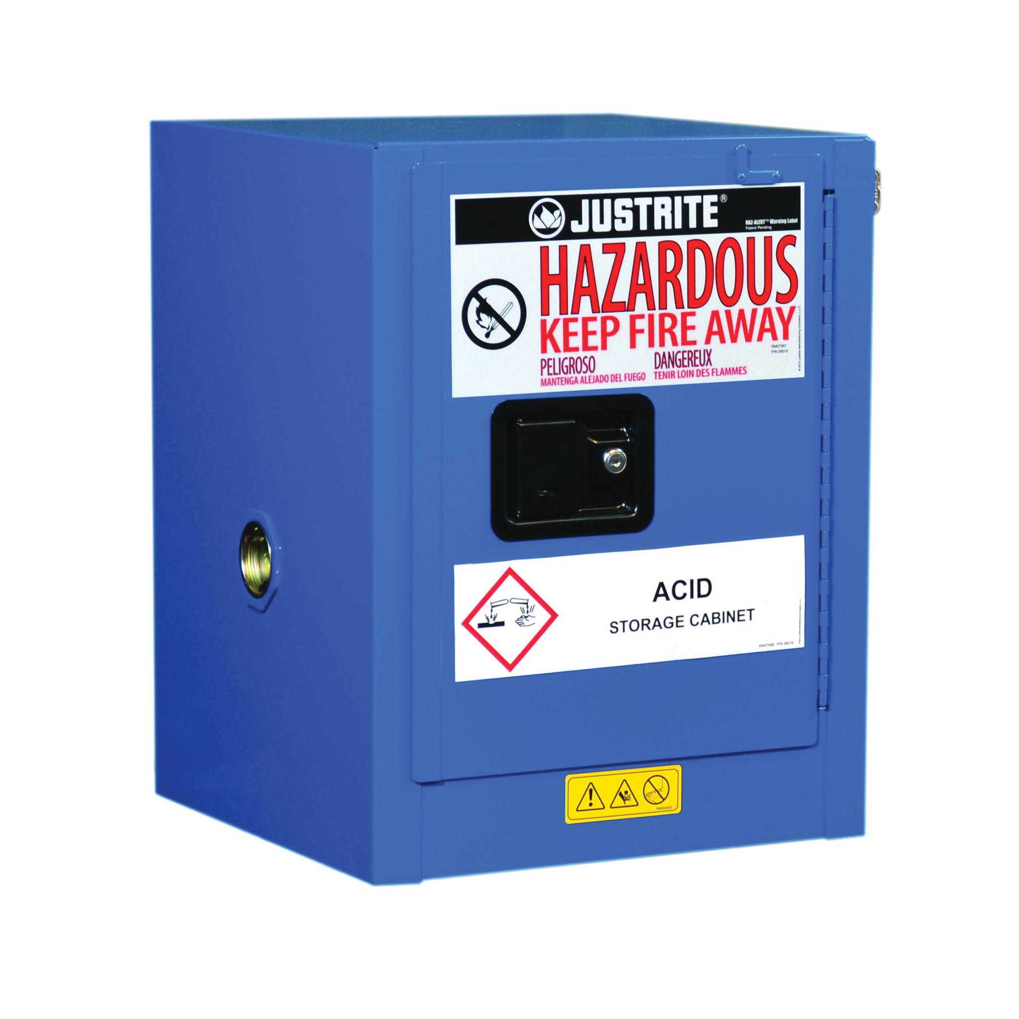 Justrite® 8604282 ChemCor® Countertop Corrosive Safety Cabinet, 4 gal Capacity, U-Loc™ Handle, 22 in H x 17 in W x 17 in D, Self-Close Door, 1 Door, 1 Shelve, 18 ga Cold Rolled Steel, Royal Blue