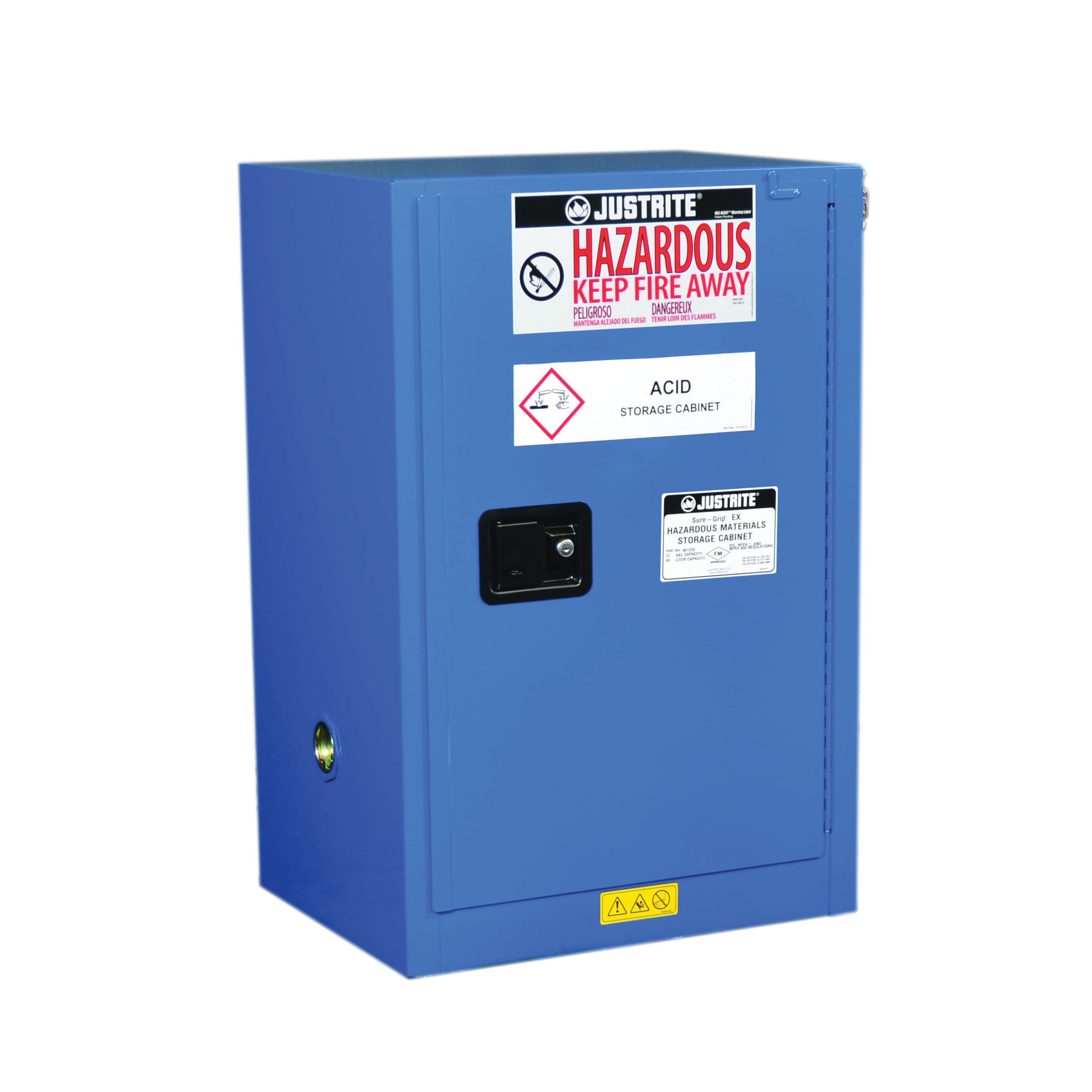 Justrite® 8612282 ChemCor® Compact Corrosive Safety Cabinet, 12 gal Capacity, U-Loc™ Handle, 35 in H x 23-1/4 in W x 18 in D, Self-Close Door, 1 Door, 1 Shelve, 18 ga Cold Rolled Steel, Royal Blue