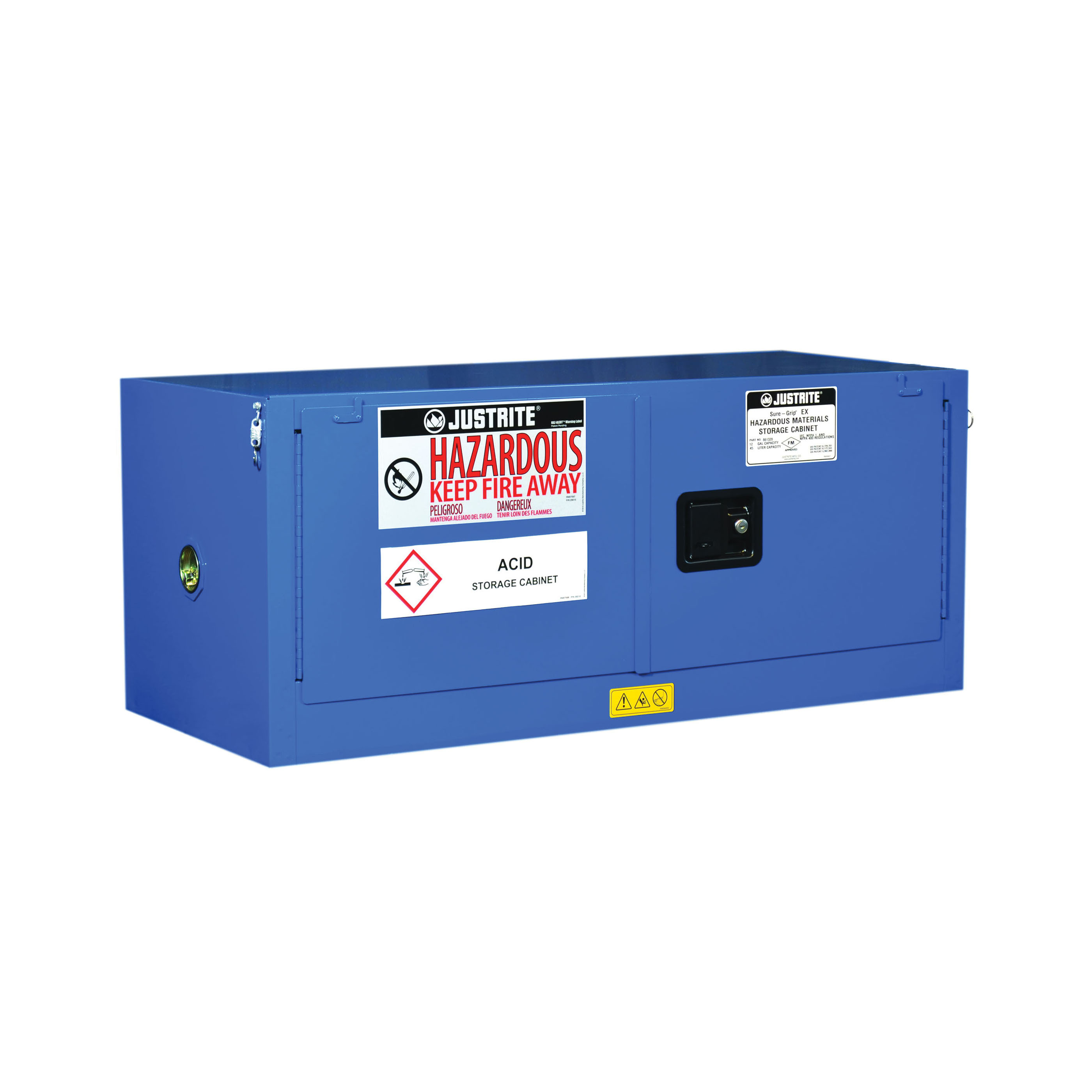 Justrite® 8613282 ChemCor® Piggyback Corrosive Safety Cabinet, 12 gal Capacity, U-Loc™ Handle, 18 in H x 43 in W x 18 in D, Self-Close Door, 2 Doors, 18 ga Cold Rolled Steel, Royal Blue
