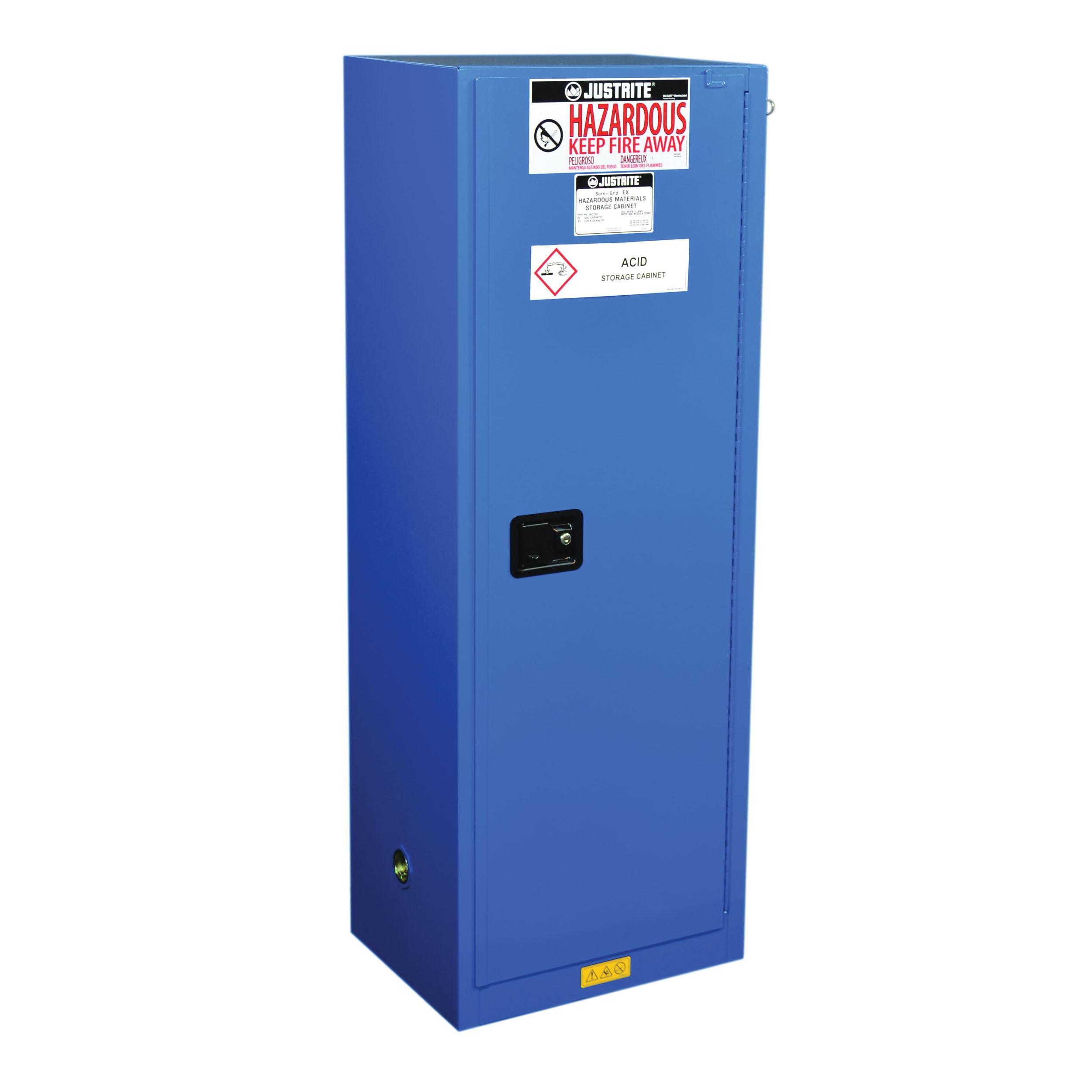 Justrite® 8622282 ChemCor® Standard Slimline Corrosive Safety Cabinet, 22 gal Capacity, U-Loc™ Handle, 65 in H x 23-1/4 in W x 18 in D, Self-Close Door, 1 Door, 3 Shelves, 18 ga Cold Rolled Steel, Royal Blue