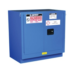 Justrite® 8623282 ChemCor® Undercounter Corrosive Safety Cabinet, 22 gal Capacity, U-Loc™ Handle, 35 in H x 35 in W x 22 in D, Self-Close Door, 2 Doors, 1 Shelve, 18 ga Cold Rolled Steel, Royal Blue