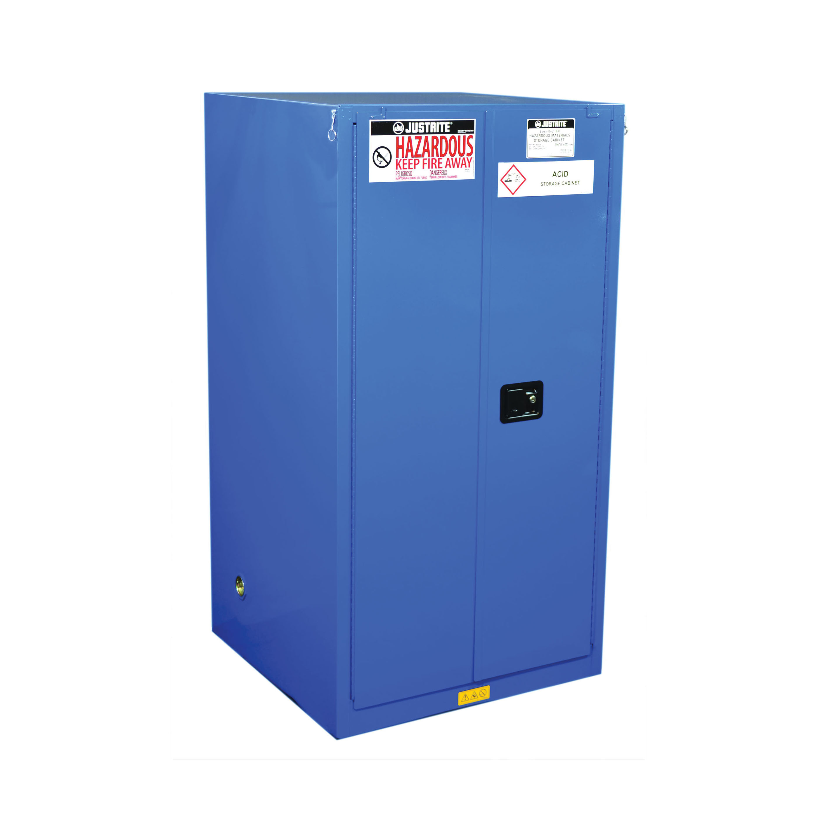 Justrite® 8660282 ChemCor® Classic Corrosive Safety Cabinet, 60 gal Capacity, U-Loc™ Handle, 65 in H x 34 in W x 34 in D, Self-Close Door, 2 Doors, 2 Shelves, 18 ga Cold Rolled Steel, Royal Blue