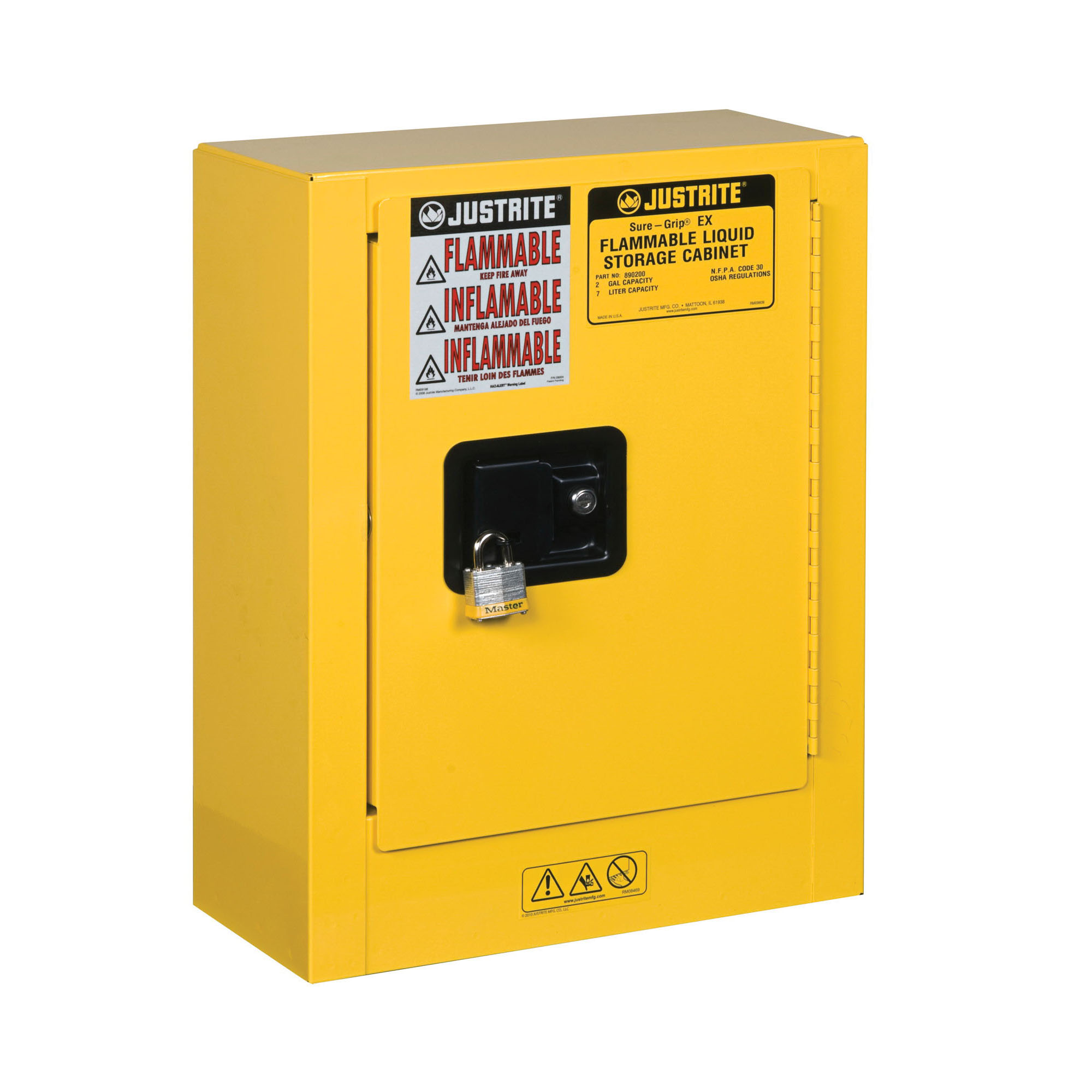 Justrite® 890200 Sure-Grip® EX Mini Flammable Safety Cabinet, 4 gal Capacity, U-Loc™ Handle, 22 in H x 17 in W x 8 in D, Manual Close Door, 1 Doors, 1 Shelves, Cold Rolled Steel, Yellow
