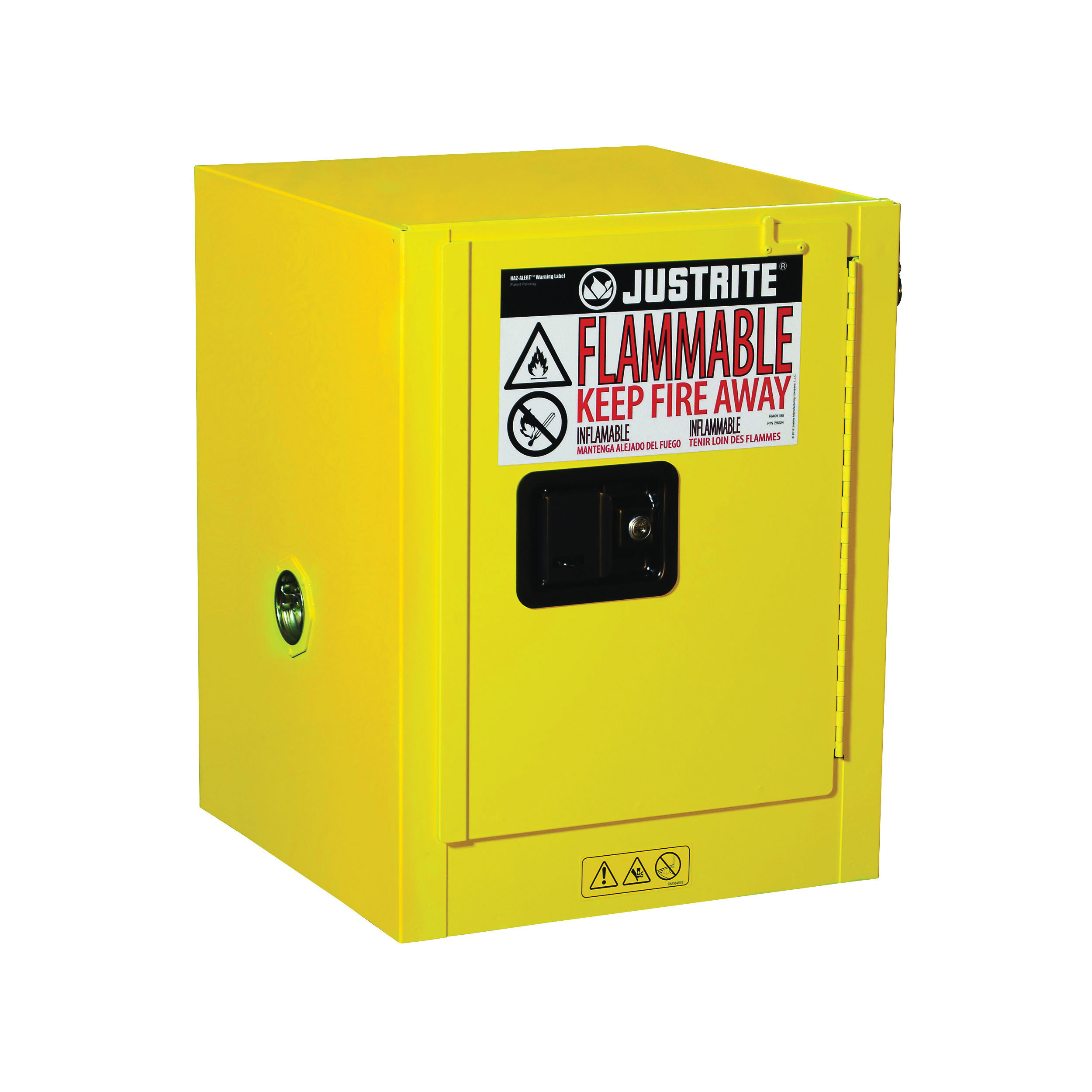 Justrite® 890400 Sure-Grip® EX Countertop Flammable Safety Cabinet, 4 gal Capacity, U-Loc™ Handle, 22 in H x 17 in W x 17 in D, Manual Close Door, 1 Doors, 1 Shelves, Cold Rolled Steel, Yellow
