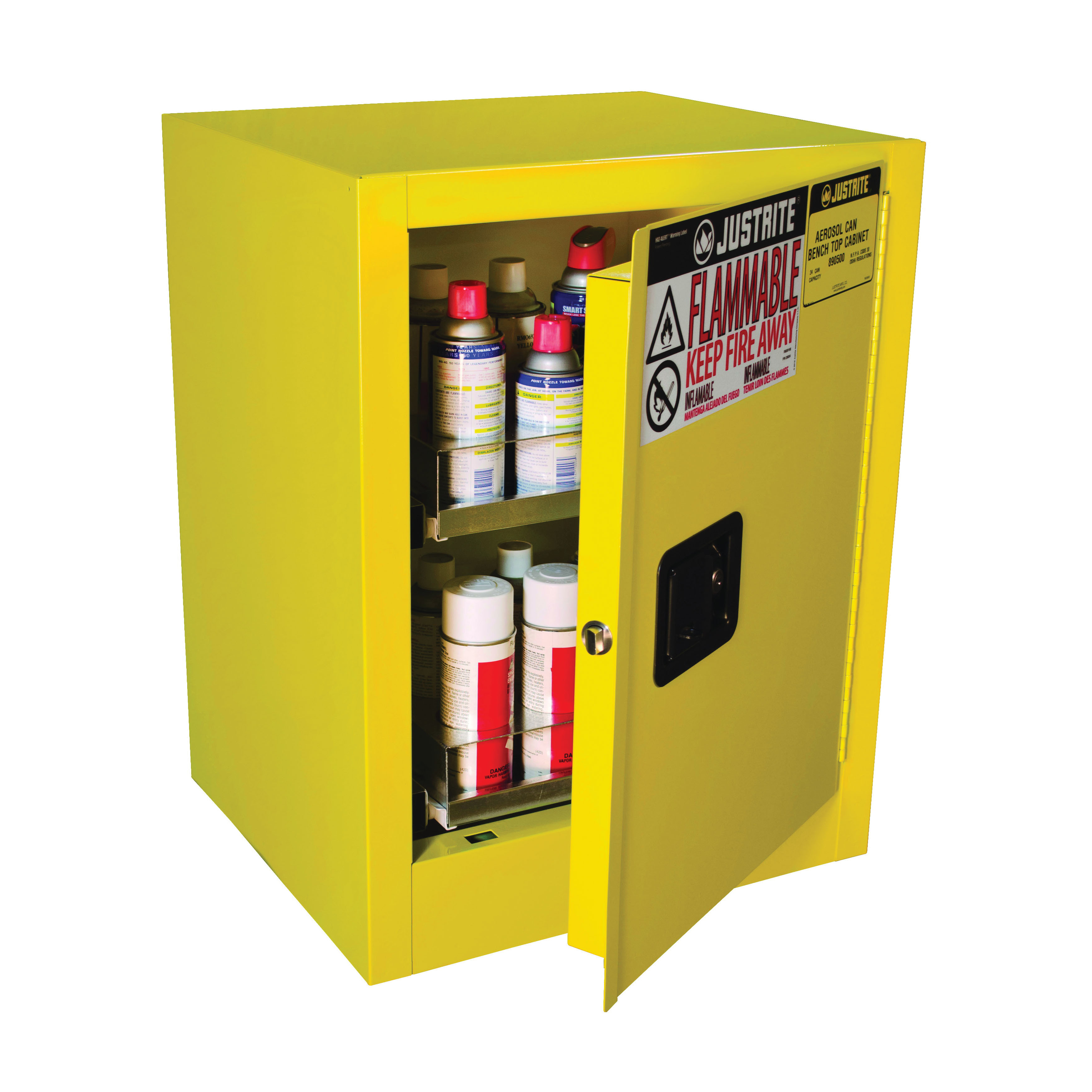 Justrite® 890500 Sure-Grip® EX Benchtop Flammable Safety Cabinet, 24 Aerosol Can Capacity, U-Loc™ Handle, 27 in H x 21 in W x 18 in D, Manual Close Door, 1 Doors, 1 Shelves, Cold Rolled Steel, Yellow