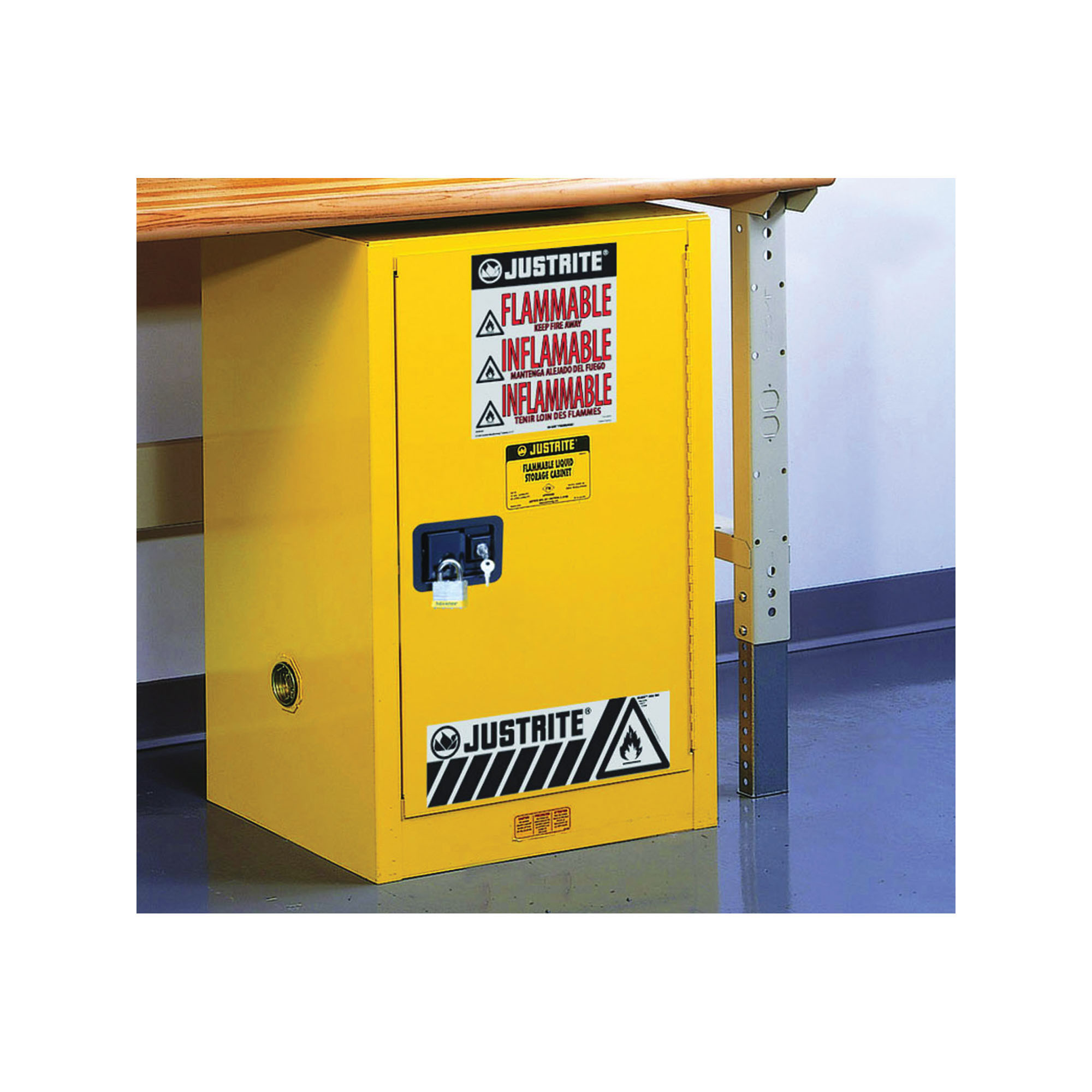 Justrite® 891220 Sure-Grip® EX Compact Flammable Safety Cabinet, 12 gal Capacity, U-Loc™ Handle, 35 in H x 23-1/4 in W x 18 in D, Self-Close Door, 1 Doors, 1 Shelves, Cold Rolled Steel, Yellow