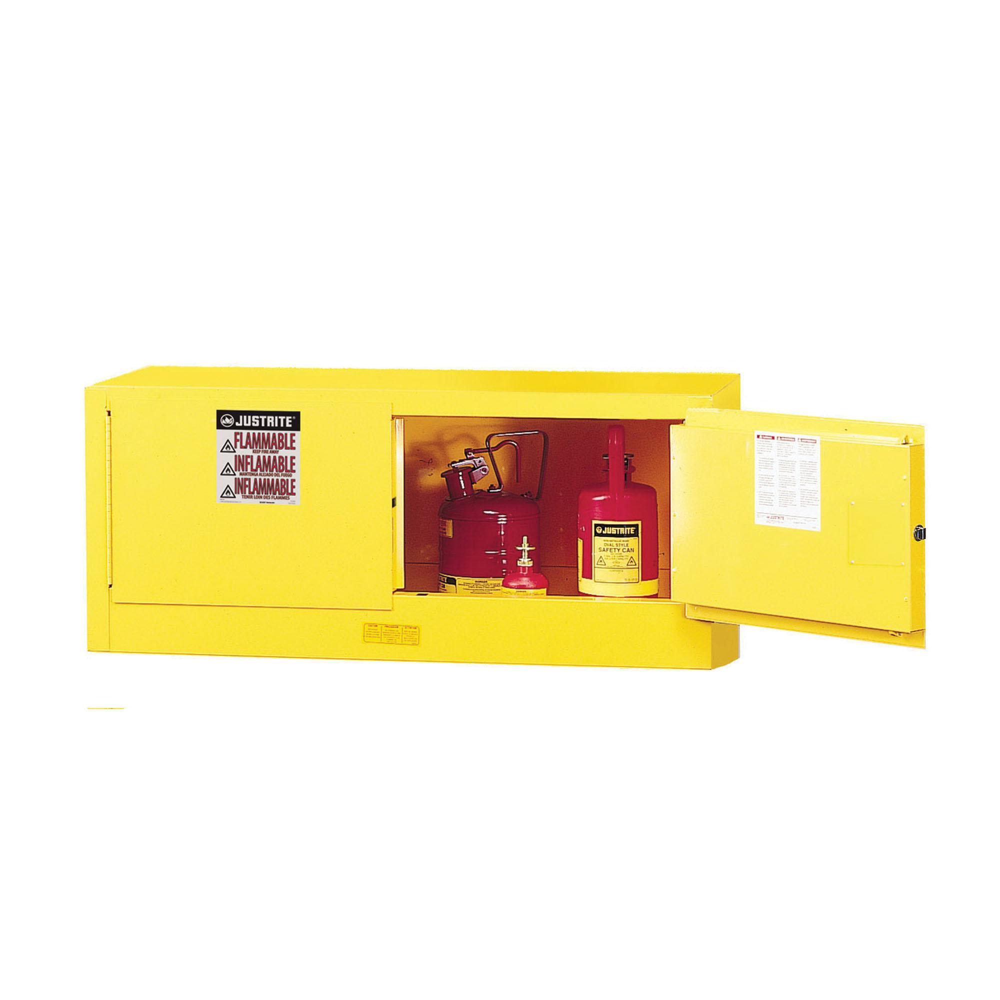 Justrite® 891300 Sure-Grip® EX Piggyback Flammable Safety Cabinet, 12 gal Capacity, U-Loc™ Handle, 18 in H x 43 in W x 18 in D, Manual Close Door, 2 Doors, 1 Shelves, Cold Rolled Steel, Yellow