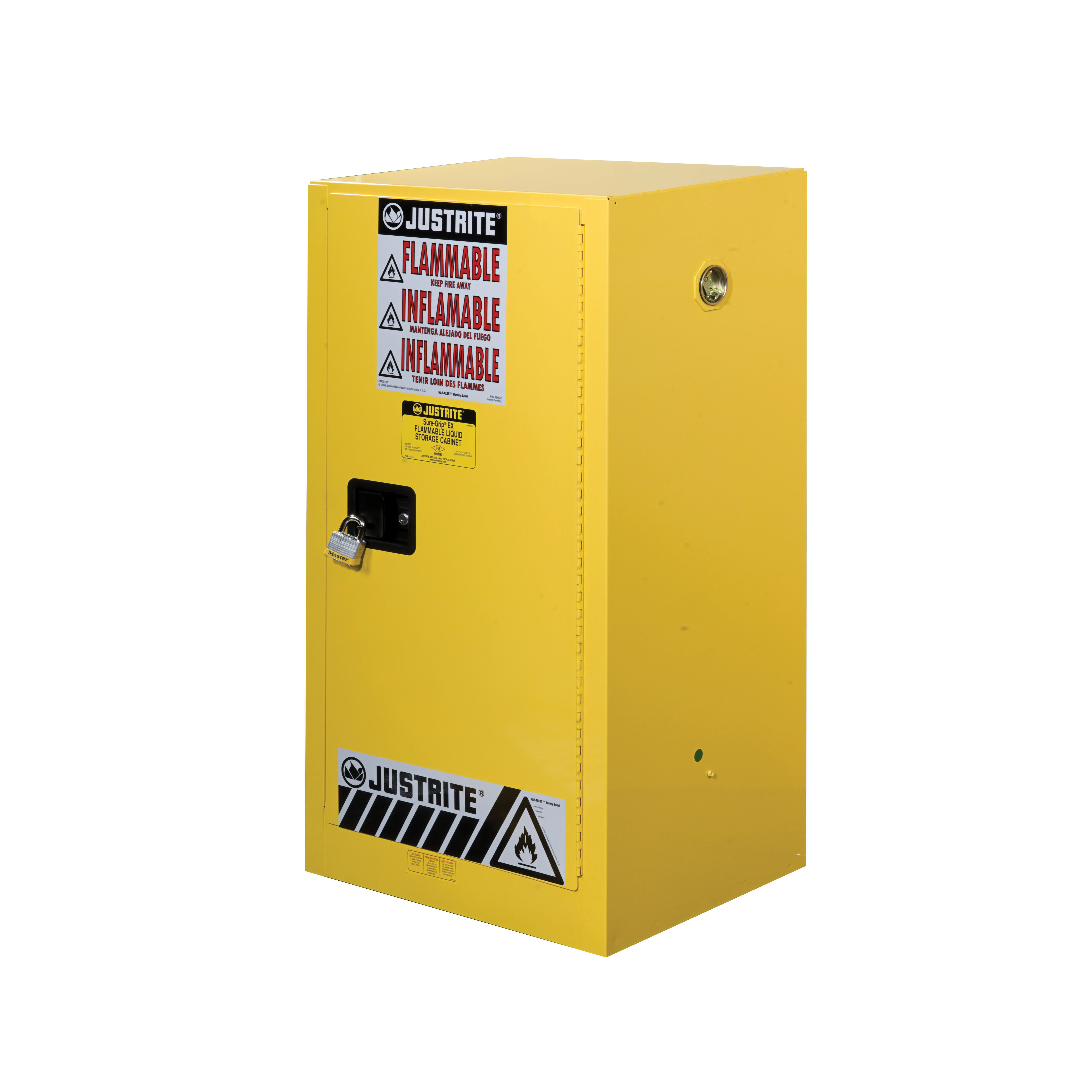 Justrite® 891500 Sure-Grip® EX Compac Flammable Safety Cabinet, 15 gal Capacity, U-Loc™ Handle, 44 in H x 23-1/4 in W x 18 in D, Manual Close Door, 1 Doors, 1 Shelves, Cold Rolled Steel, Yellow