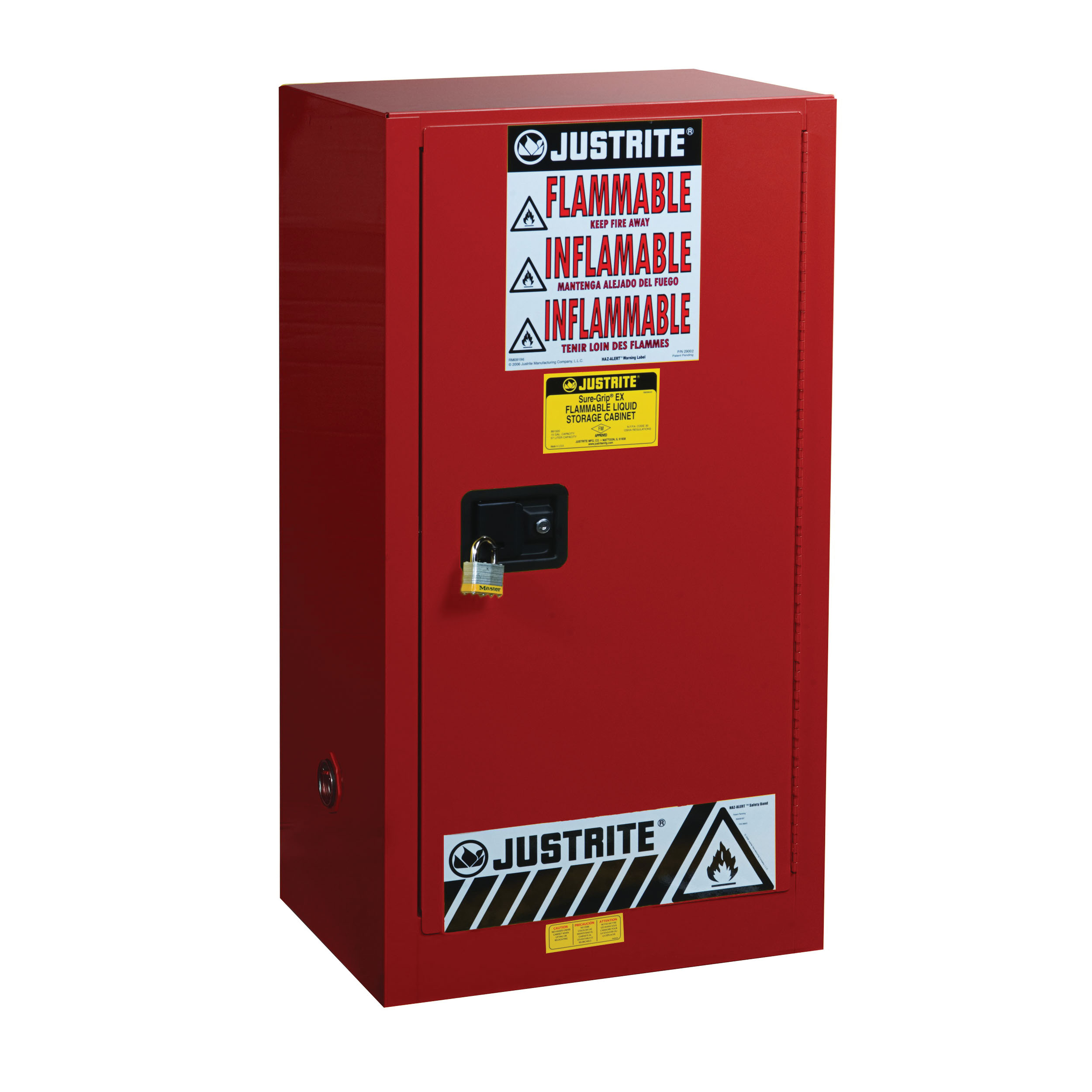 Justrite® 891511 Sure-Grip® EX Standard Combustible Safety Cabinet, 20 gal Capacity, U-Loc™ Handle, 44 in H x 23-1/4 in W x 18 in D, Manual Close Door, 1 Doors, 2 Shelves, Cold Rolled Steel, Red