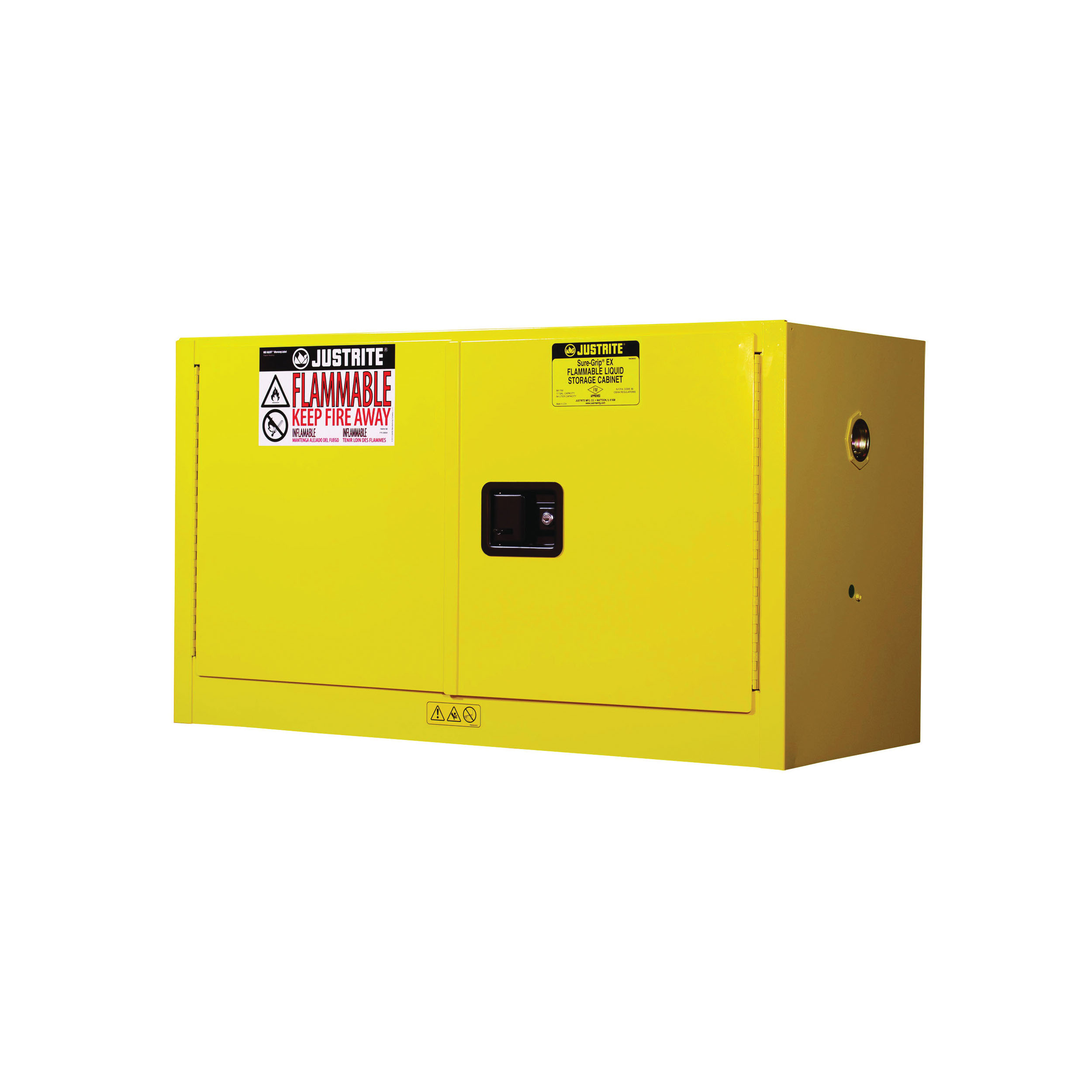 Justrite® 891700 Sure-Grip® EX Piggyback Flammable Safety Cabinet, 17 gal Capacity, U-Loc™ Handle, 24 in H x 43 in W x 18 in D, Manual Close Door, 2 Doors, 1 Shelves, Cold Rolled Steel, Yellow