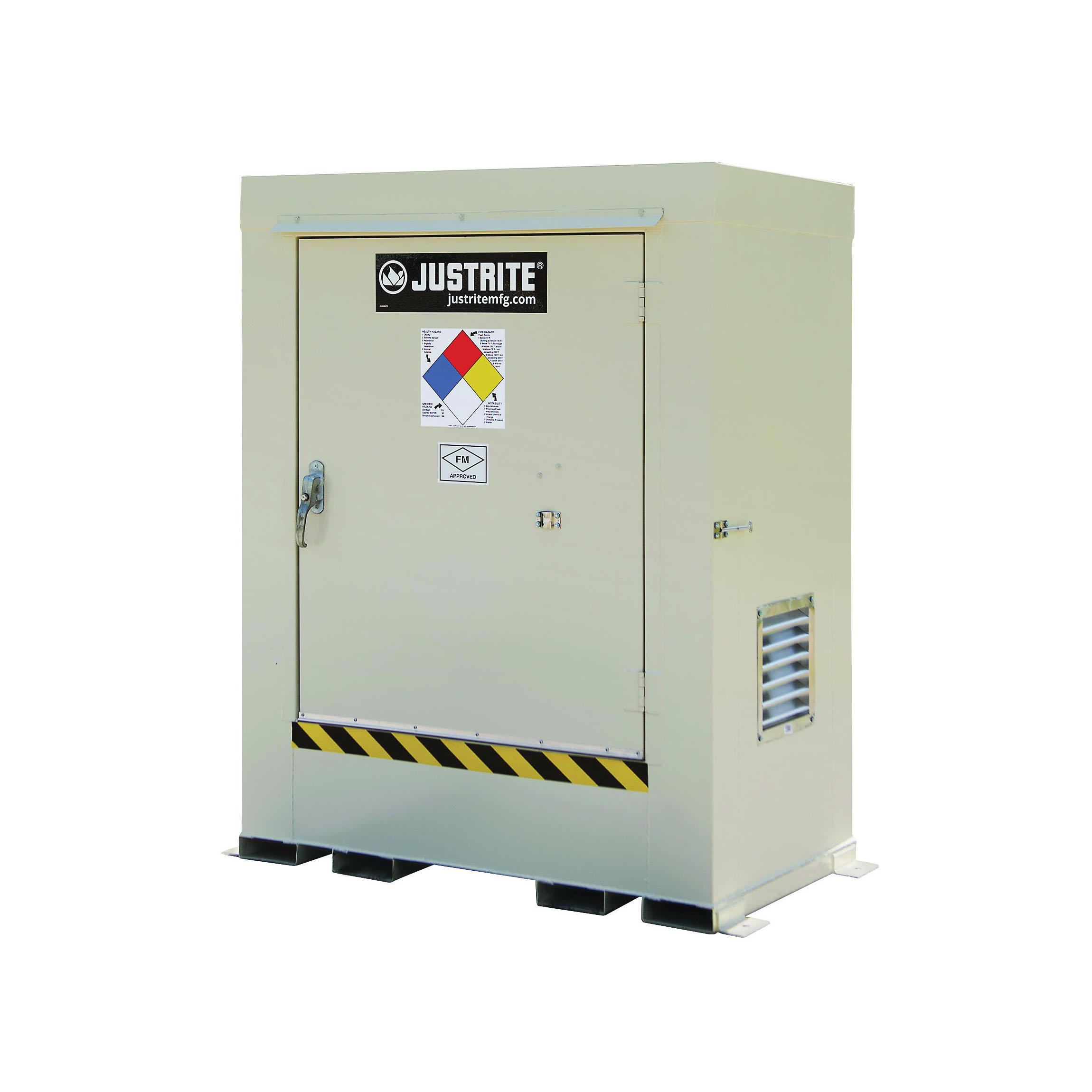 Justrite® 911021 Non-Combustible Outdoor Safety Locker, 75 in H x 60 in W x 36 in D, Standard Door, 1 Doors, Heavy Gauge Steel, Bone