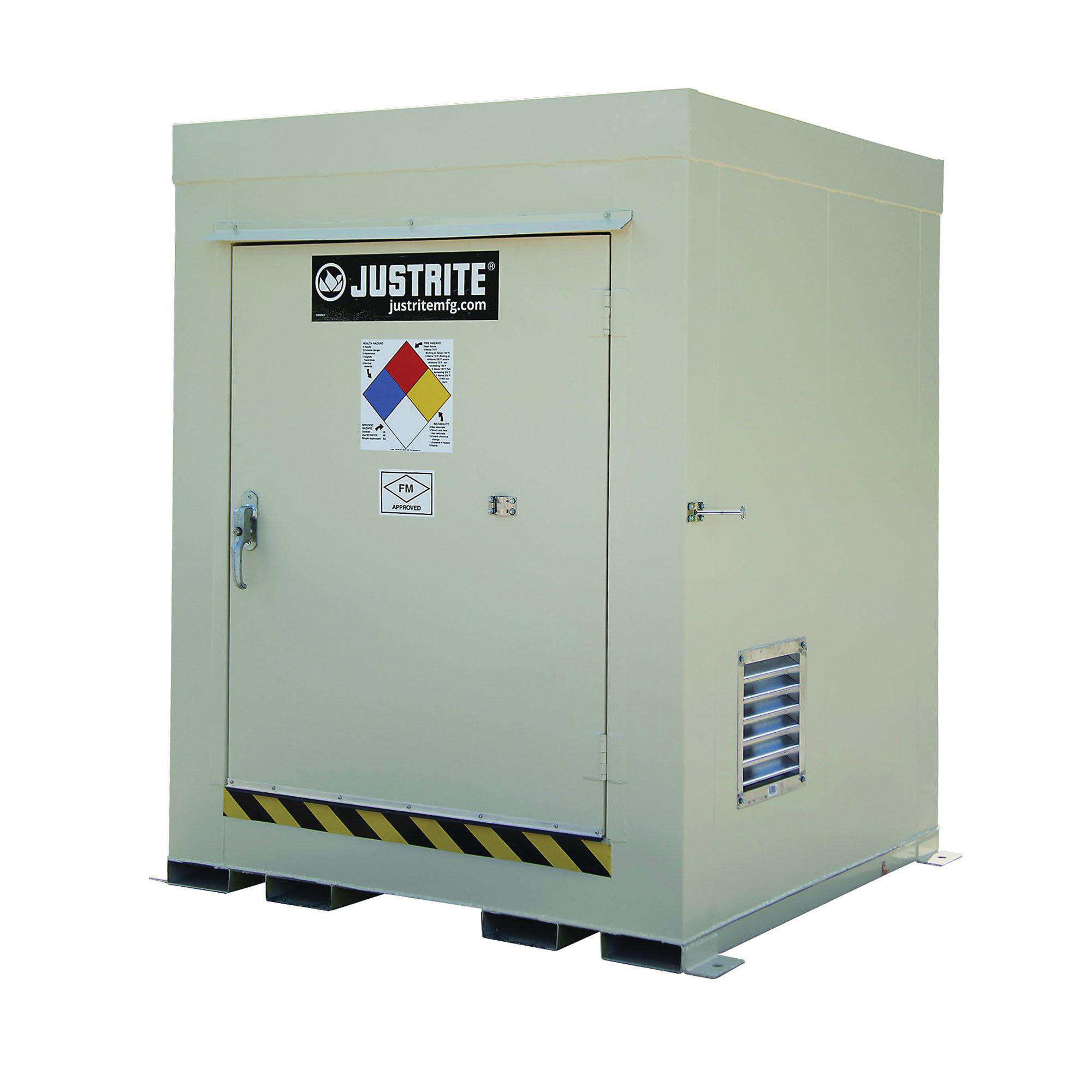 Justrite® 911041 Non-Combustible Outdoor Safety Locker, 75 in H x 60 in W x 60 in D, Standard Door, 1 Doors, Heavy Gauge Steel, Bone