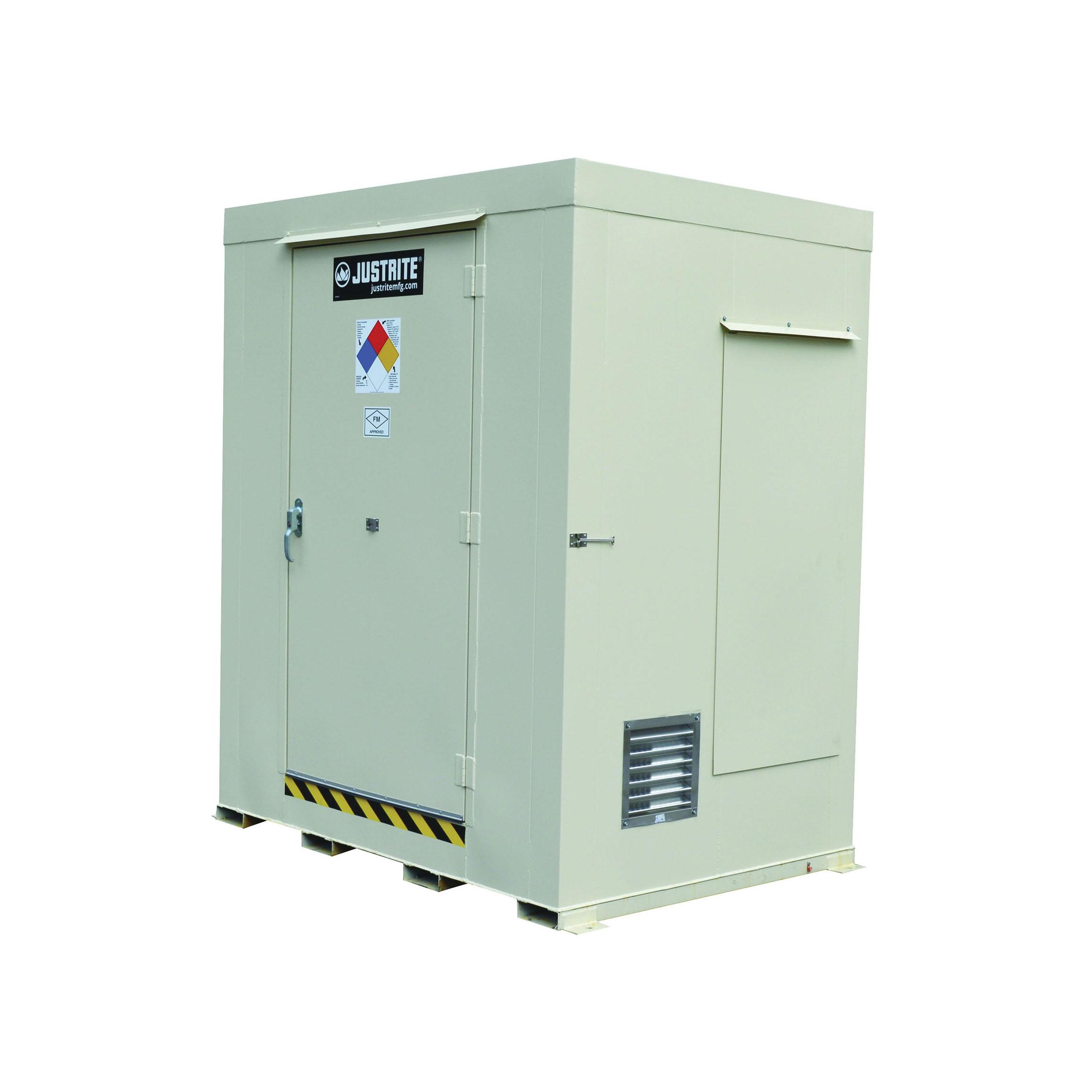 Justrite® 911061 Non-Combustible Outdoor Safety Locker, 97 in H x 84 in W x 60 in D, Standard Door, 1 Doors, Heavy Gauge Steel, Bone