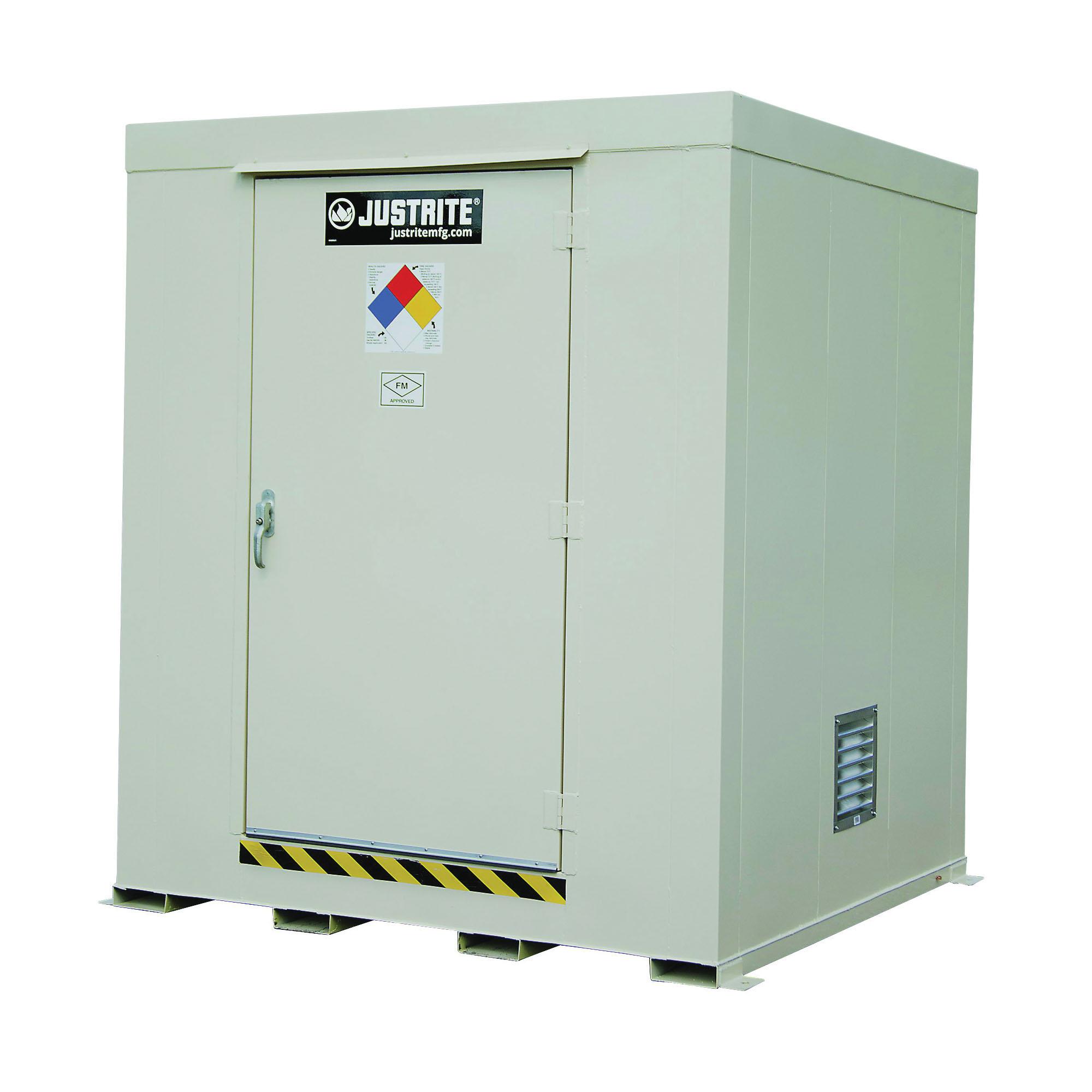 Justrite® 911091 Non-Combustible Outdoor Safety Locker, 97 in H x 84 in W x 84 in D, Standard Door, 1 Doors, Heavy Gauge Steel, Bone