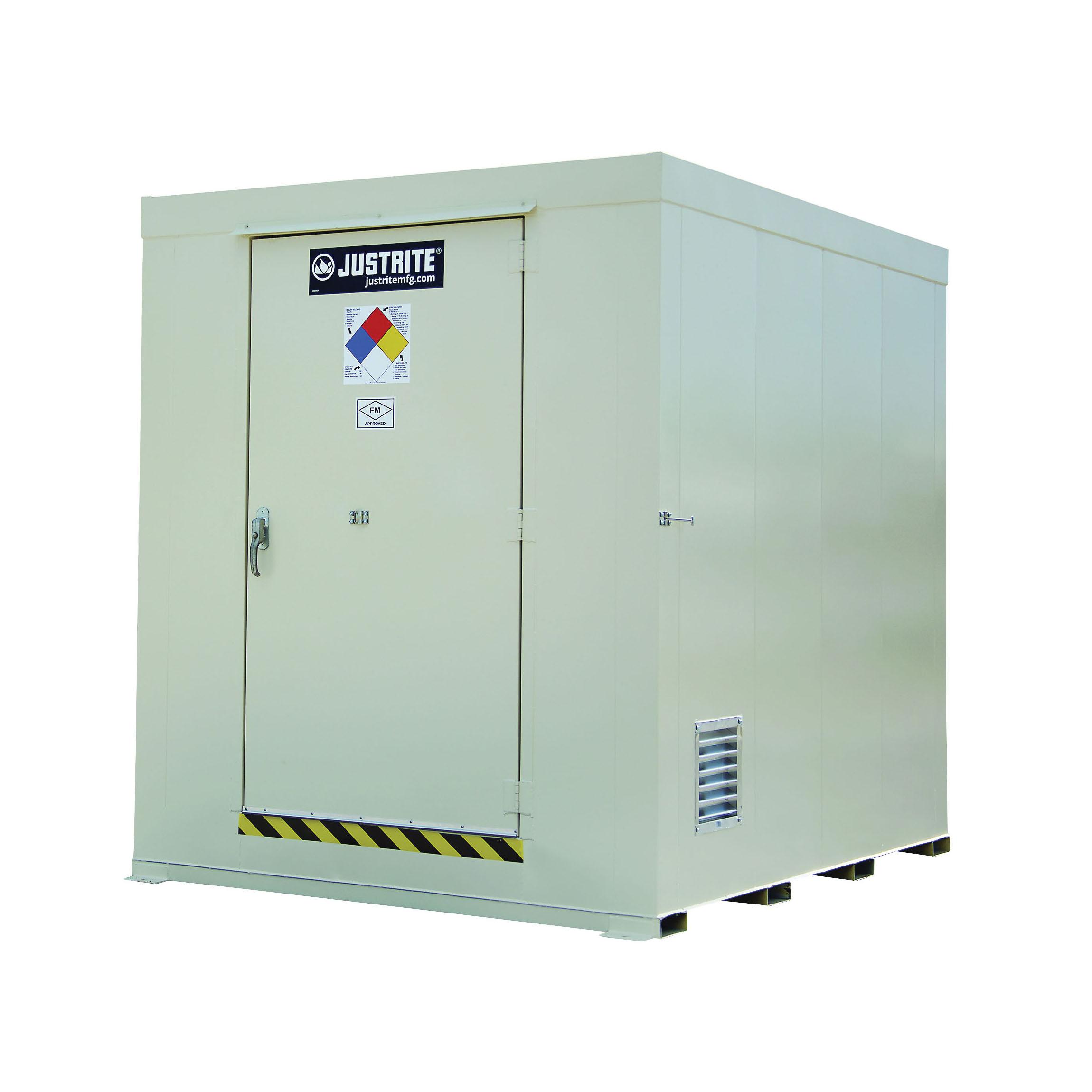 Justrite® 911121 Non-Combustible Outdoor Safety Locker, 97 in H x 84 in W x 108 in D, Standard Door, 1 Doors, Heavy Gauge Steel, Bone