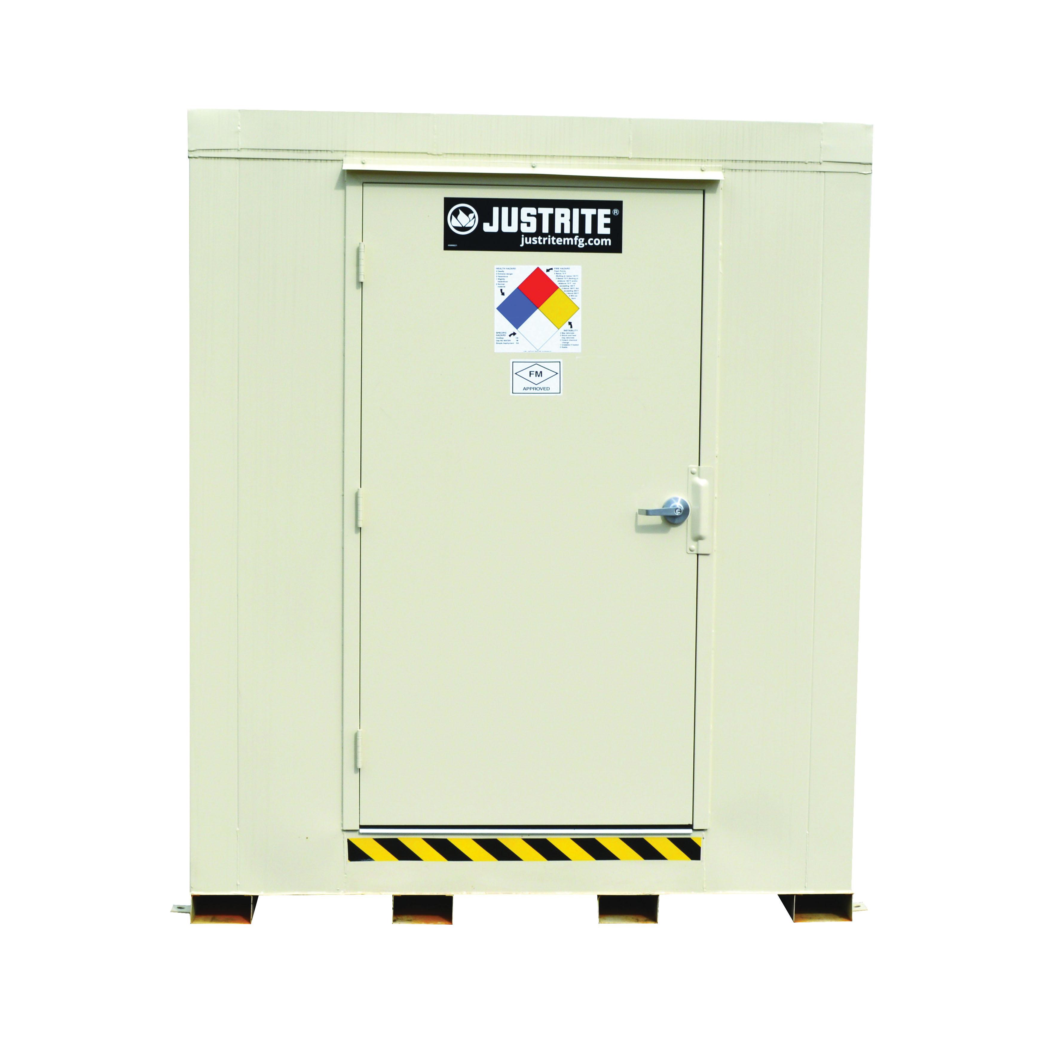 Justrite® 912040 Outdoor Safety Locker, 2 hr Fire Rating, 75 in H x 64 in W x 64 in D, Fire-Rated Door, 1 Doors, Heavy Gauge Steel, Bone