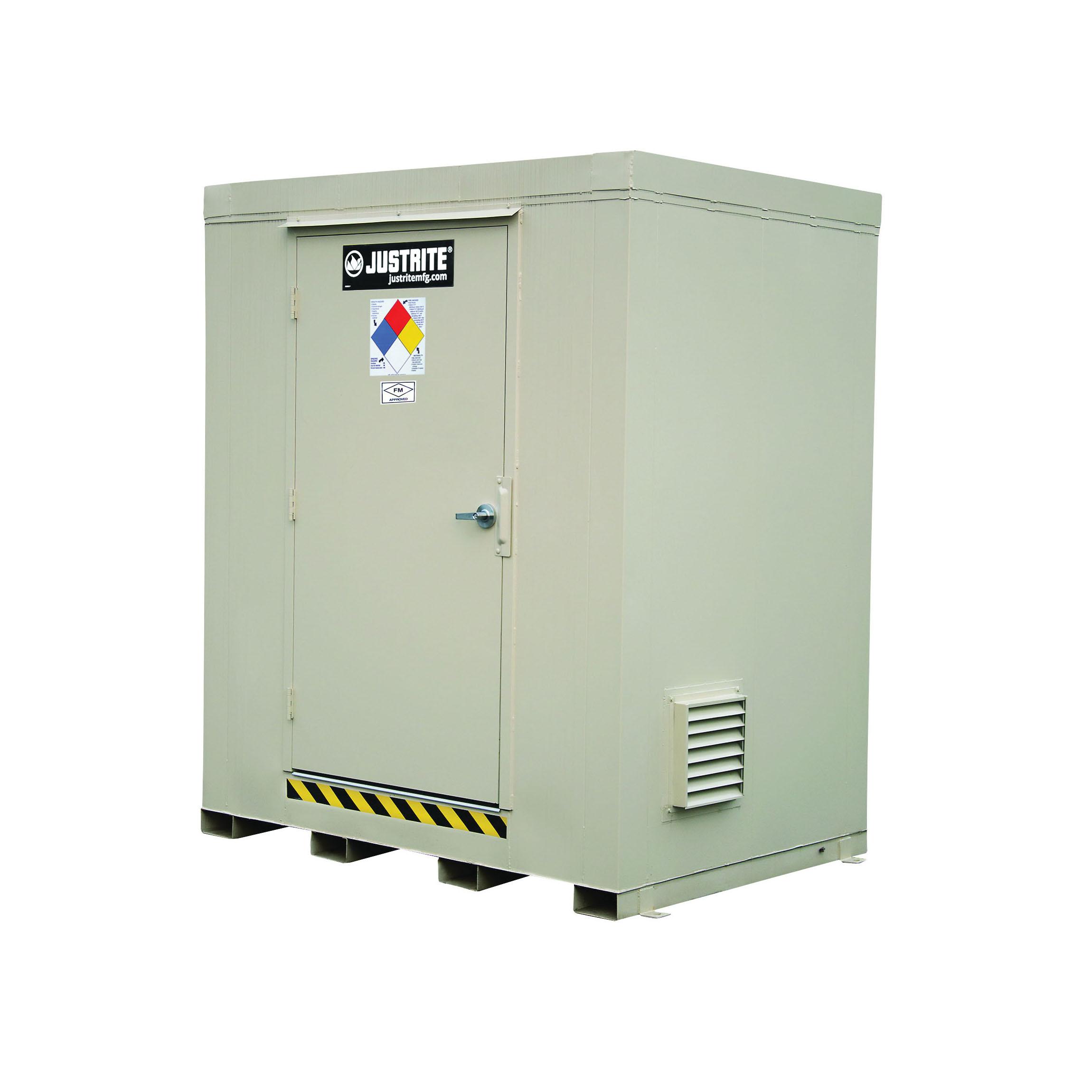 Justrite® 912060 Outdoor Safety Locker, 2 hr Fire Rating, 97 in H x 88 in W x 64 in D, Fire-Rated Door, 1 Doors, Heavy Gauge Steel, Bone