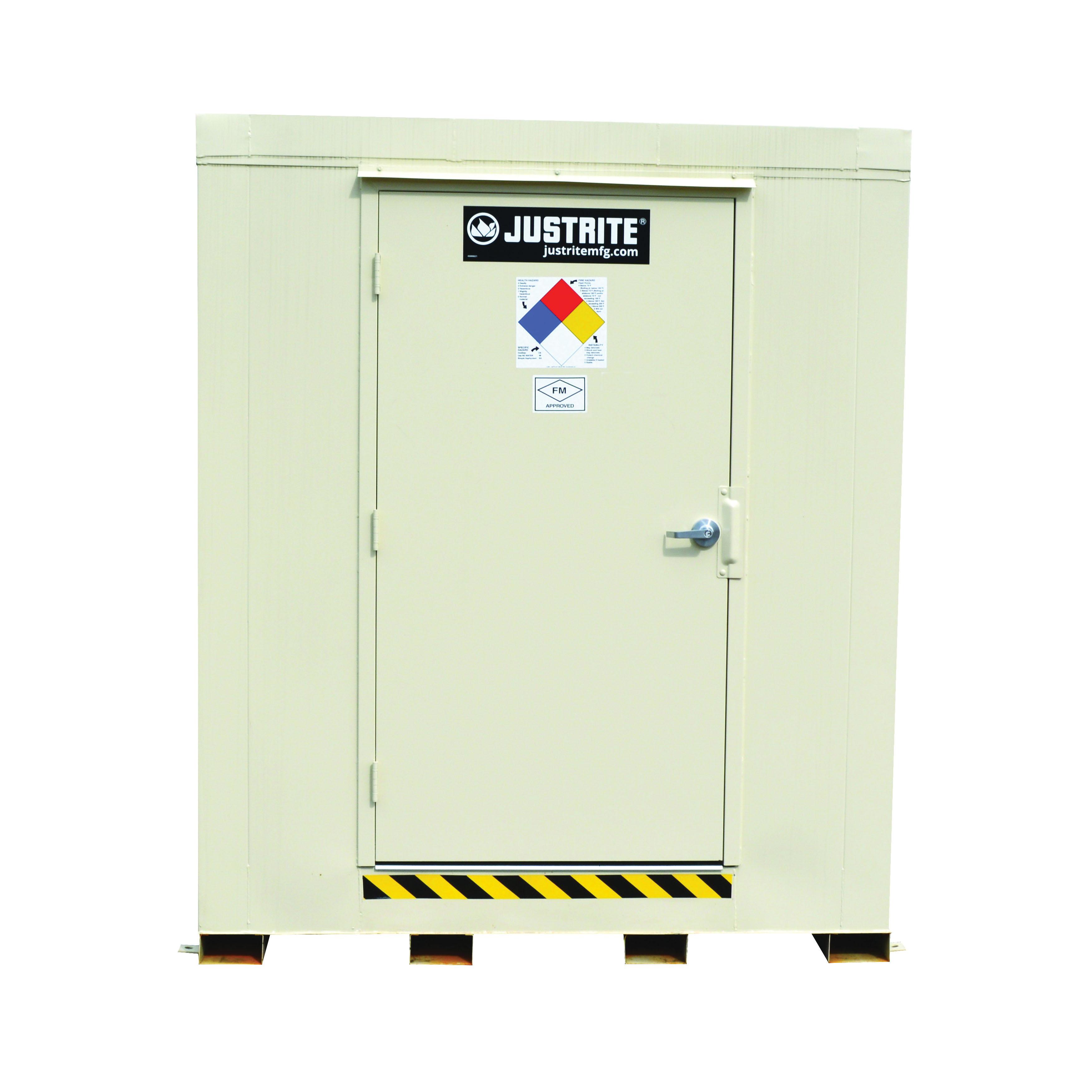 Justrite® 912090 Outdoor Safety Locker, 2 hr Fire Rating, 97 in H x 88 in W x 88 in D, Fire-Rated Door, 1 Doors, Heavy Gauge Steel, Bone
