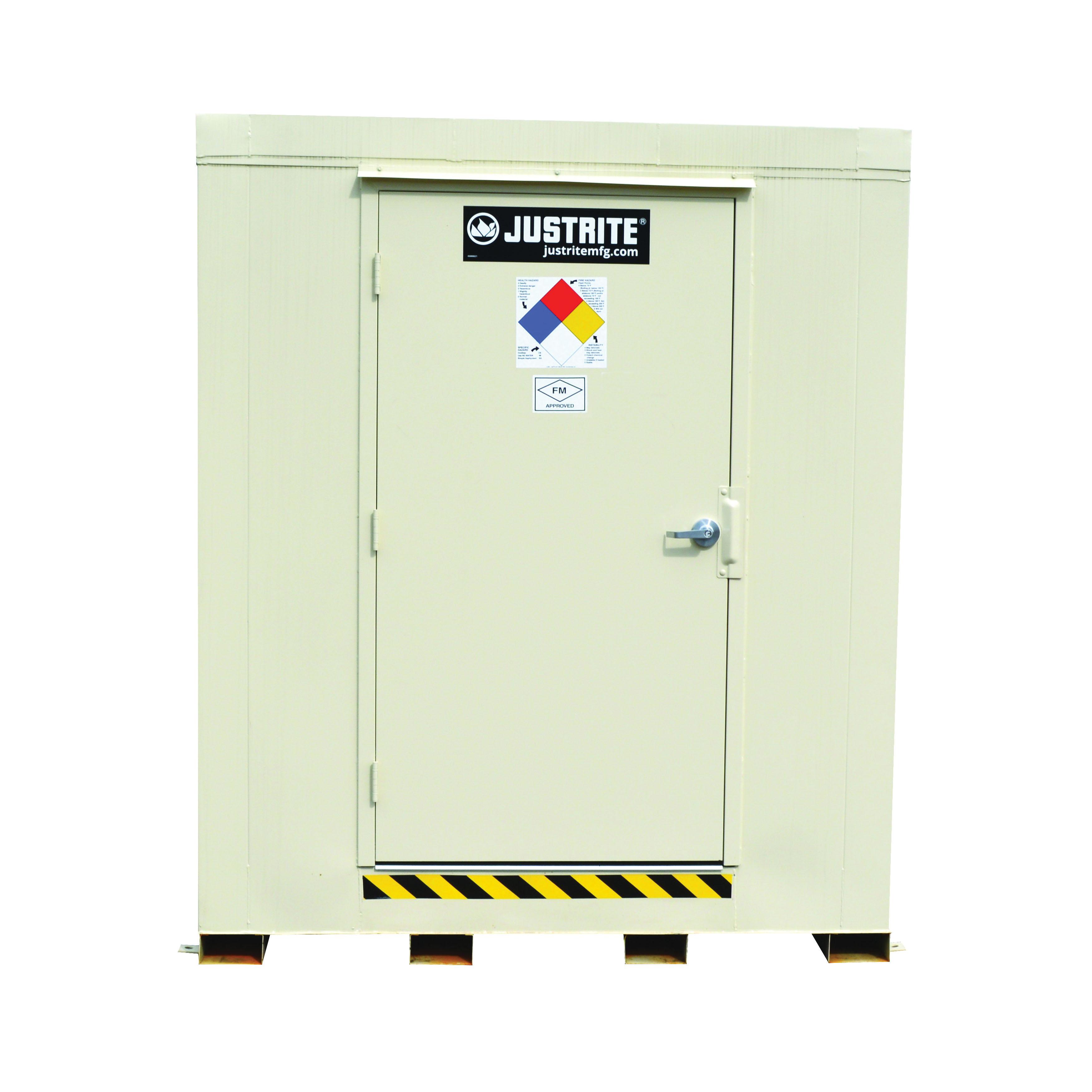 Justrite® 912091 Outdoor Safety Locker, 2 hr Fire Rating, 97 in H x 88 in W x 88 in D, Fire-Rated Door, 1 Doors, Heavy Gauge Steel, Bone