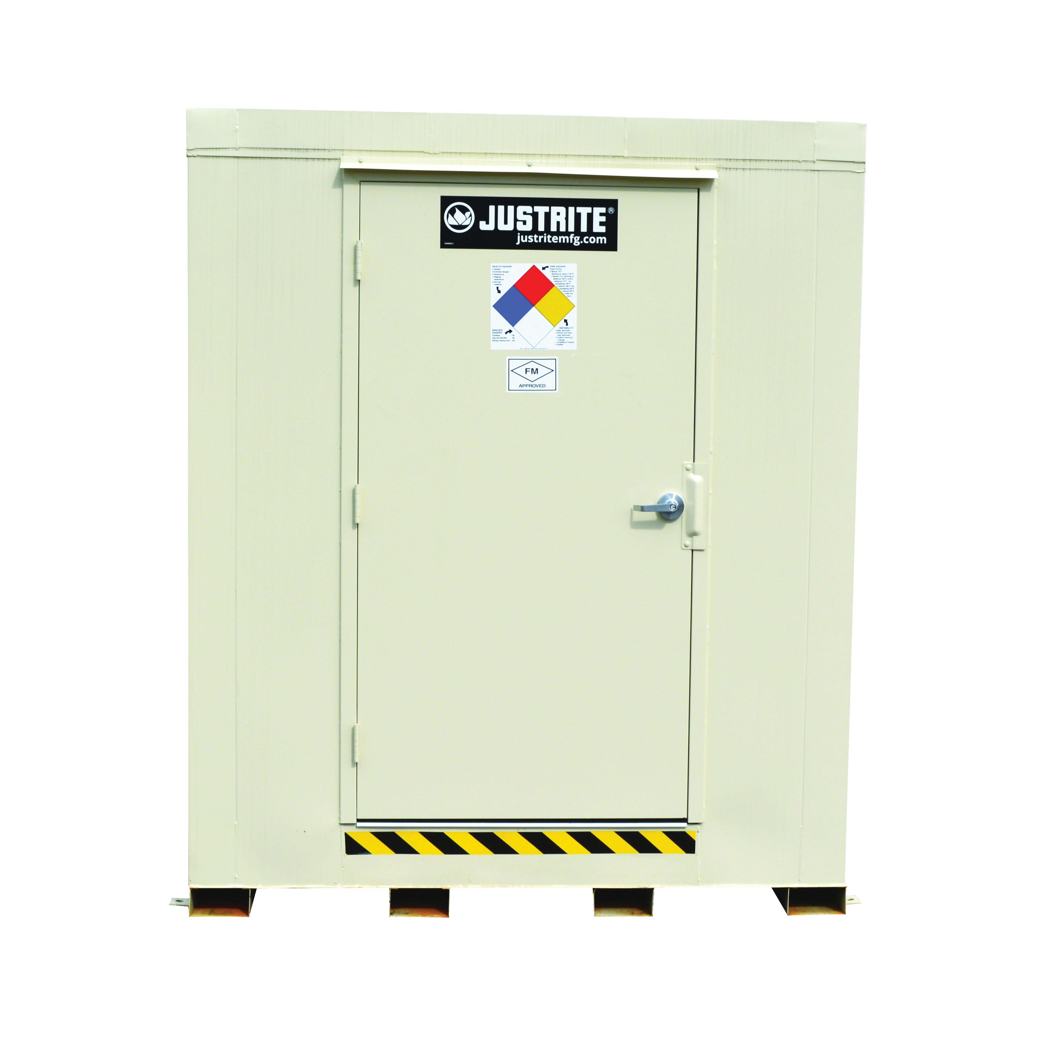 Justrite® 912120 Outdoor Safety Locker, 2 hr Fire Rating, 97 in H x 88 in W x 112 in D, Fire-Rated Door, 1 Doors, Heavy Gauge Steel, Bone