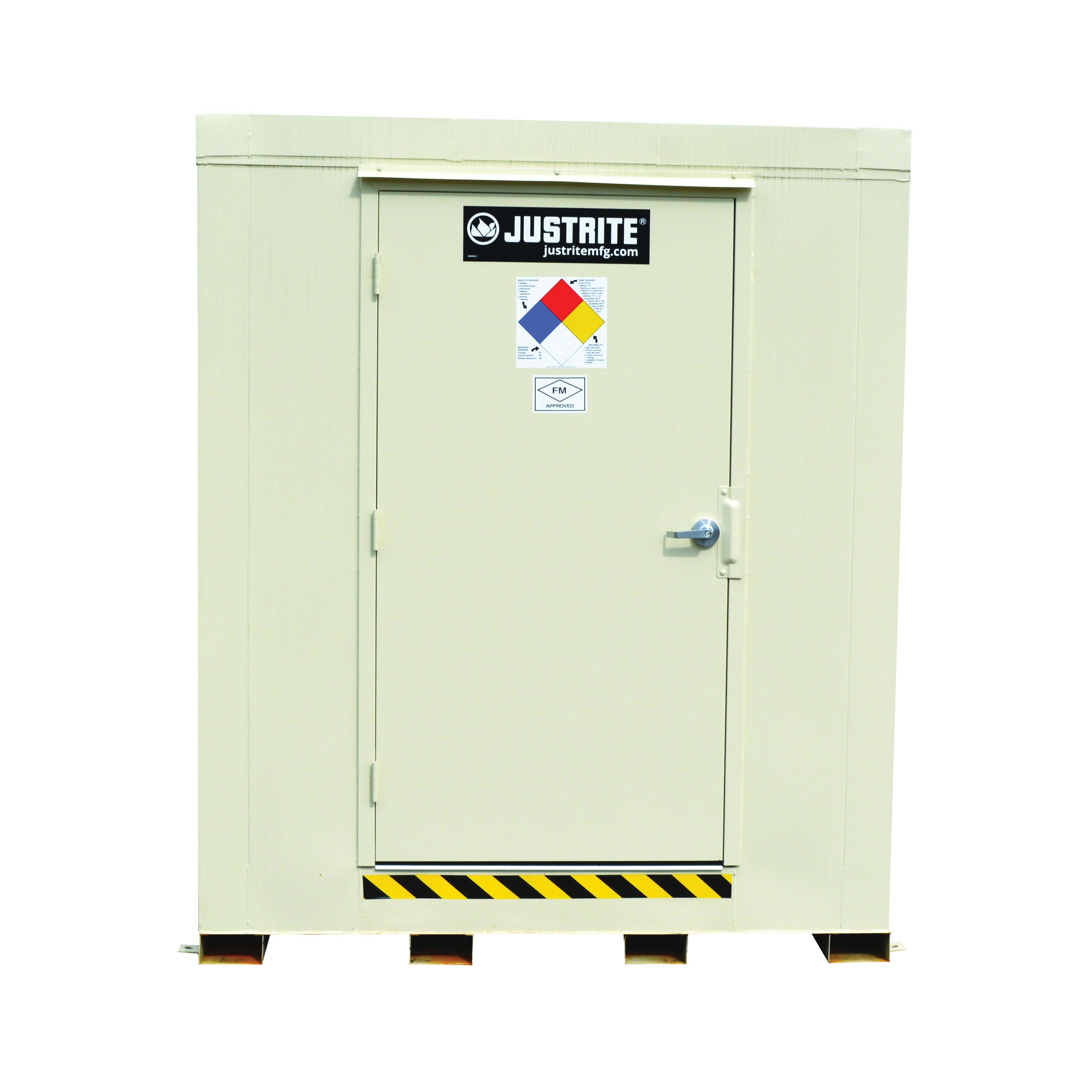 Justrite® 912121 Outdoor Safety Locker, 2 hr Fire Rating, 97 in H x 88 in W x 112 in D, Fire-Rated Door, 1 Doors, Heavy Gauge Steel, Bone