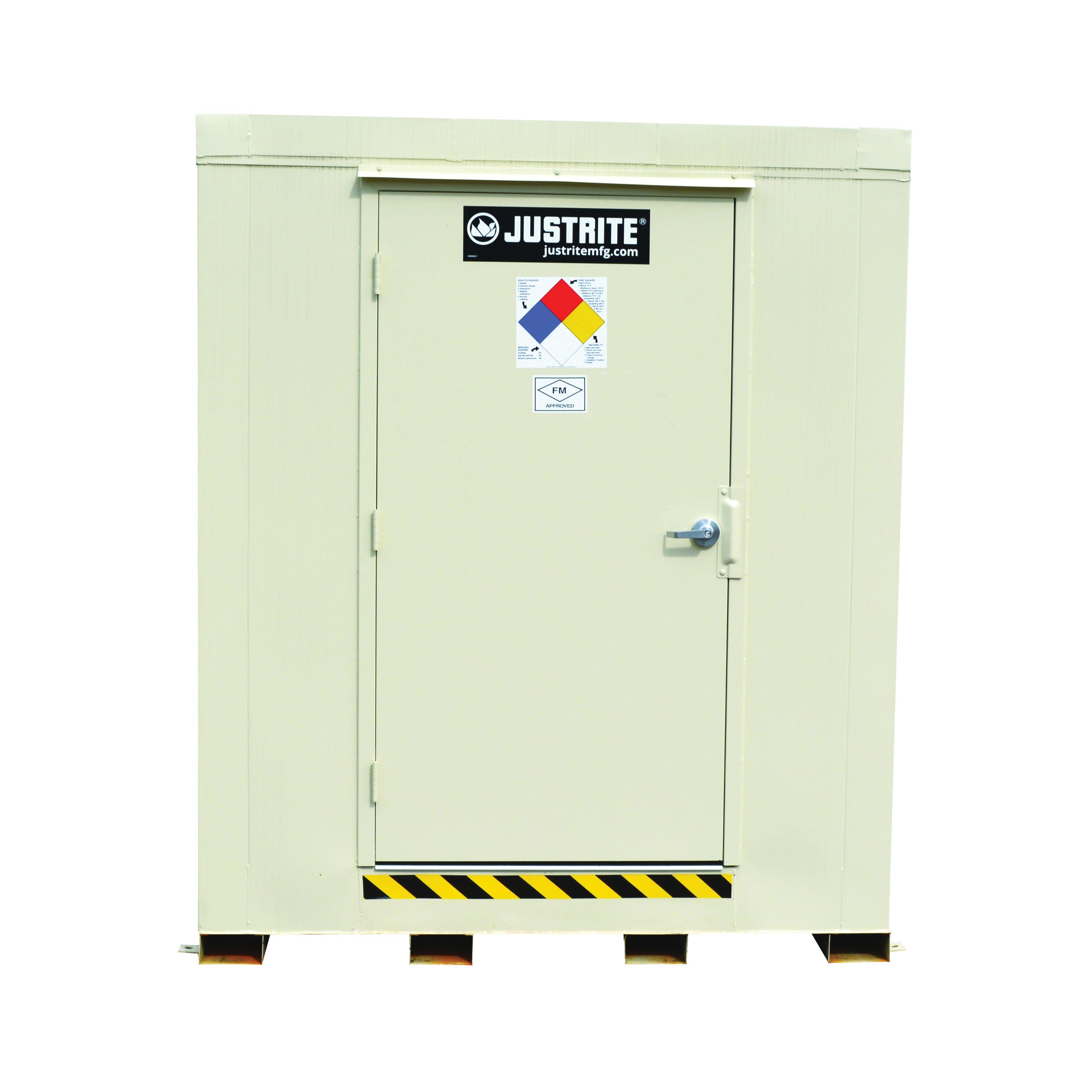 Justrite® 912161 Outdoor Safety Locker, 2 hr Fire Rating, 97 in H x 112 in W x 112 in D, Fire-Rated Door, 1 Doors, Heavy Gauge Steel, Bone