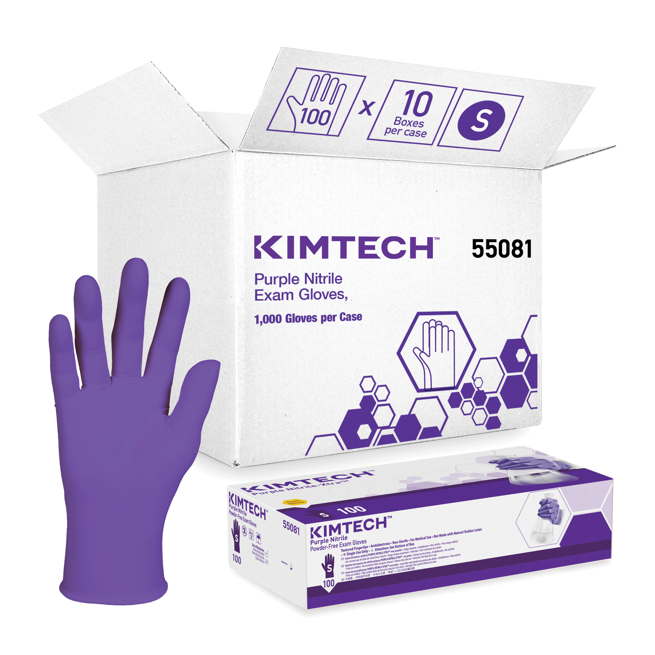 Kimberly-Clark* 55081 Disposable Gloves, S, Nitrile™ Polymer, Purple, 9-1/2 in L, Non-Powdered, Textured, 6 mil THK, Application Type: Exam/Medical Grade, Ambidextrous Hand