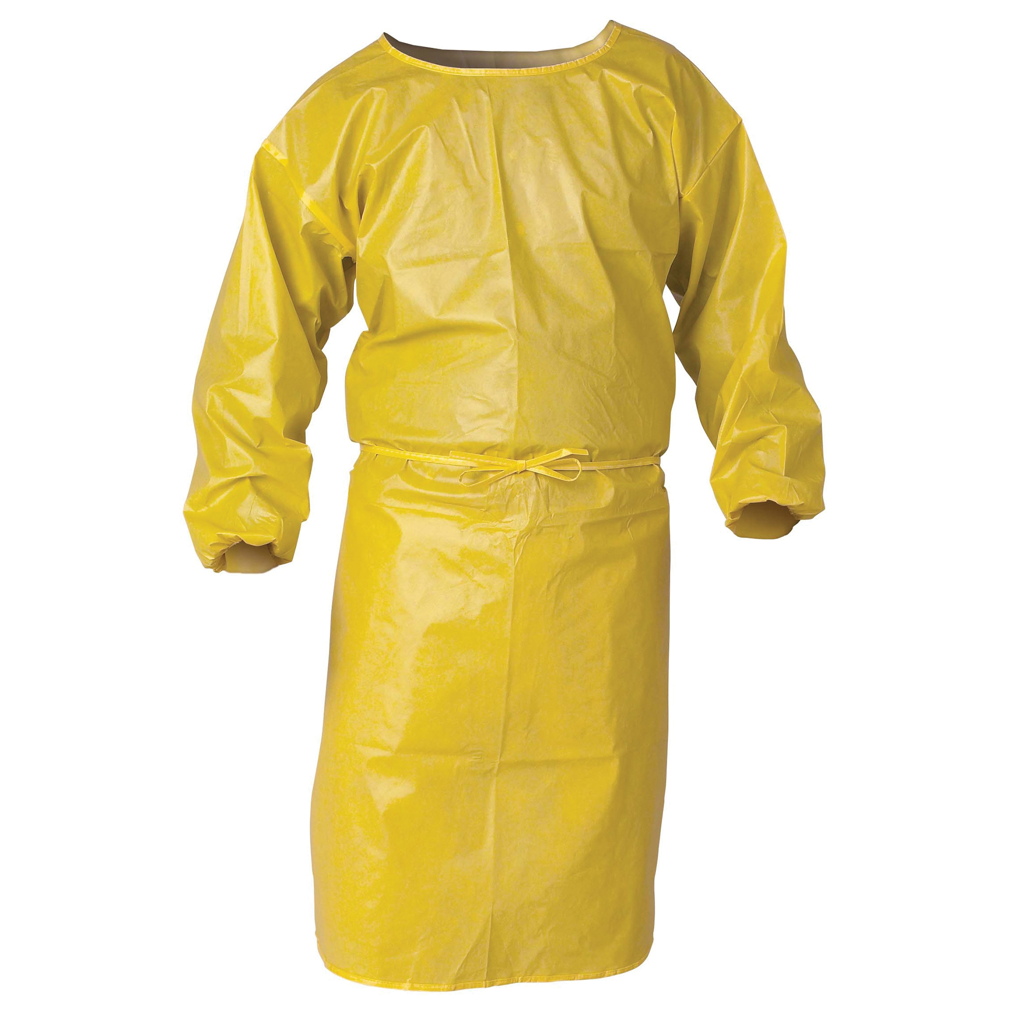 KleenGuard™ 09830 A70 Spray Protection Smock, 2XL, Yellow, 1.5 mil Polyethylene Coated Fabric, 52 in L, Front Tie Closure, Specifications Met: TAA Complaint, NFPA 99