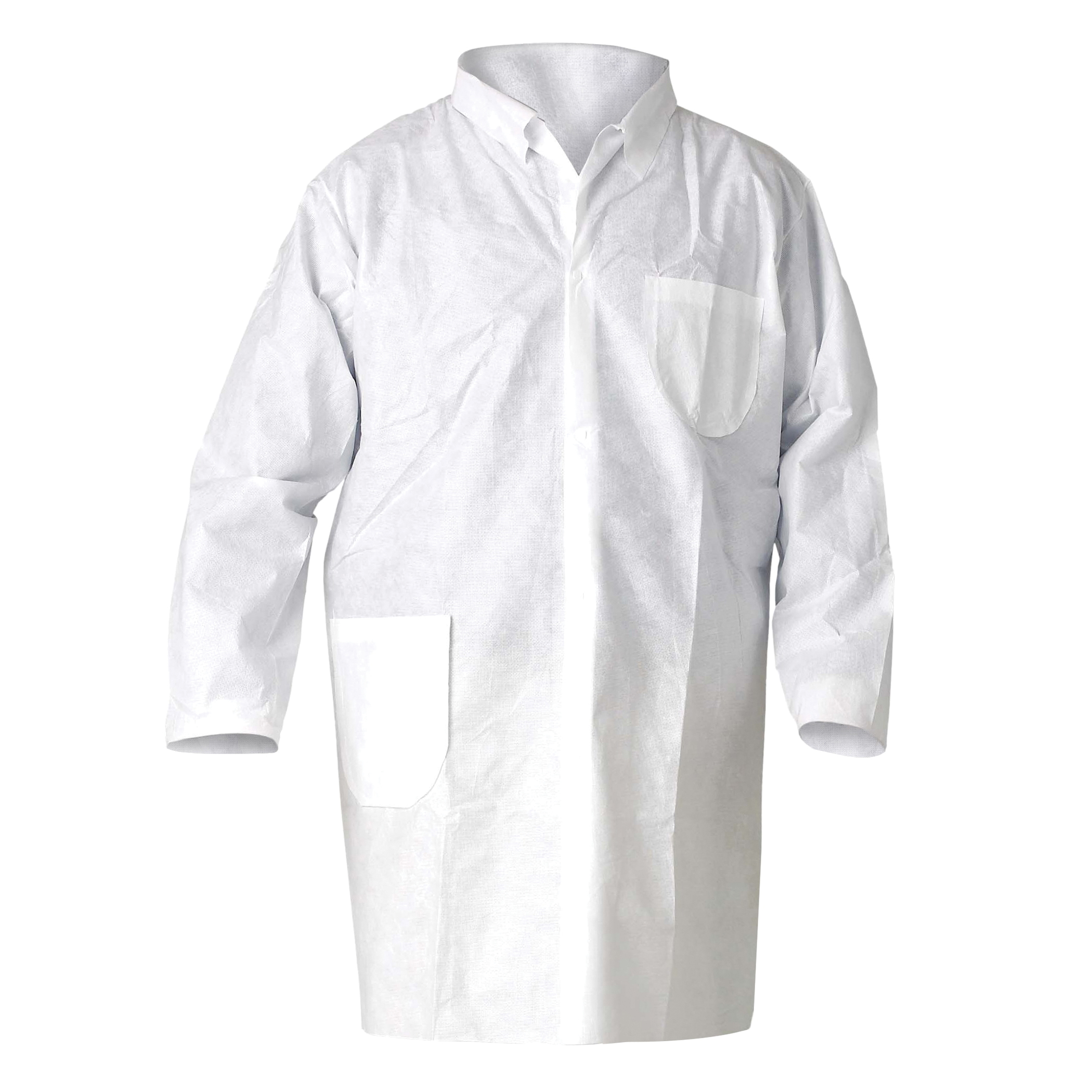 KleenGuard™ 10029 A20 Breathable Lab Coat, Unisex, L, White, MICROFORCE* Barrier SMS Fabric, Snap Front Closure, 2 Pockets, TAA Complaint, NFPA 99