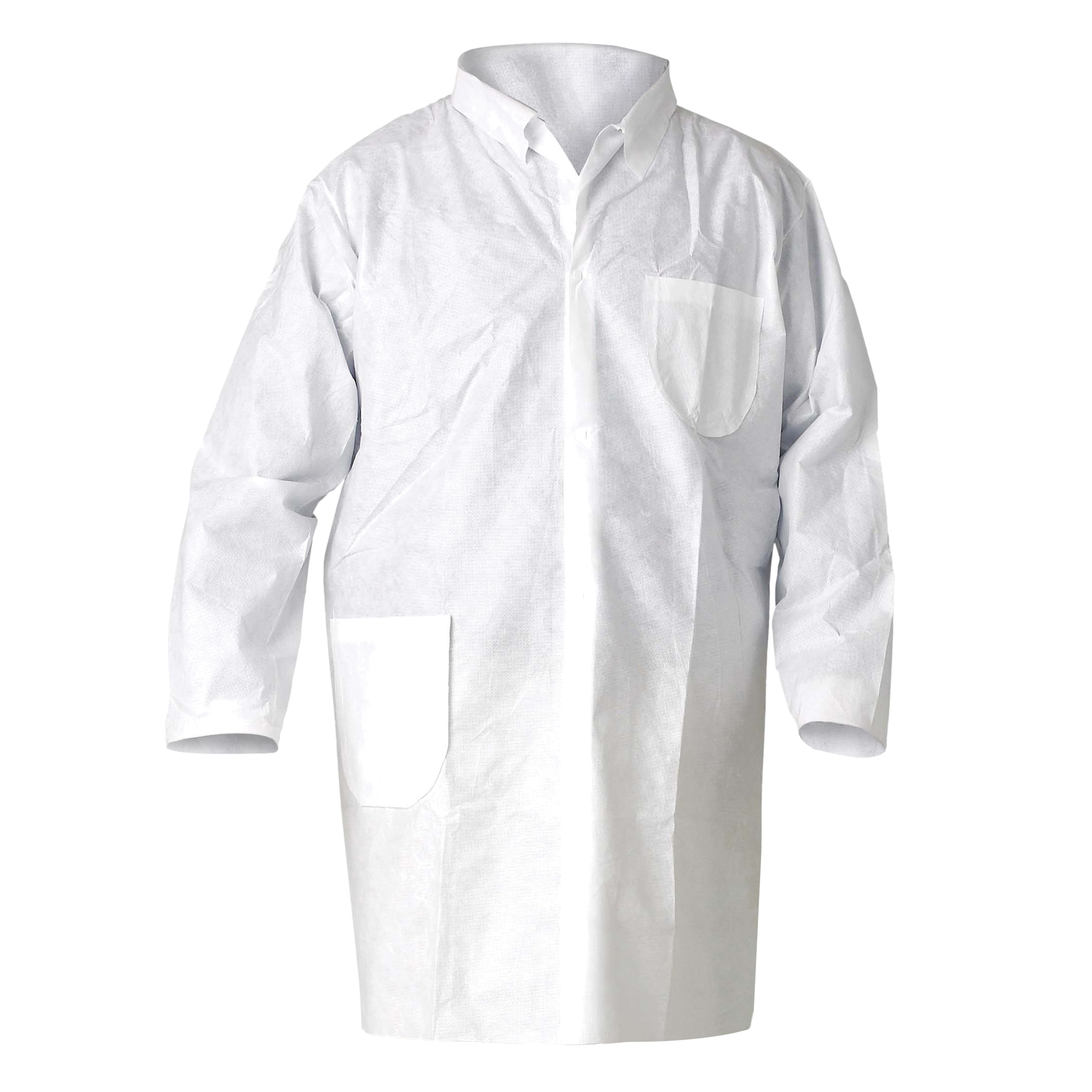 KleenGuard™ 10039 A20 Breathable Lab Coat, Unisex, XL, White, MICROFORCE* Barrier SMS Fabric, Snap Front Closure, 2 Pockets, TAA Complaint, NFPA 99
