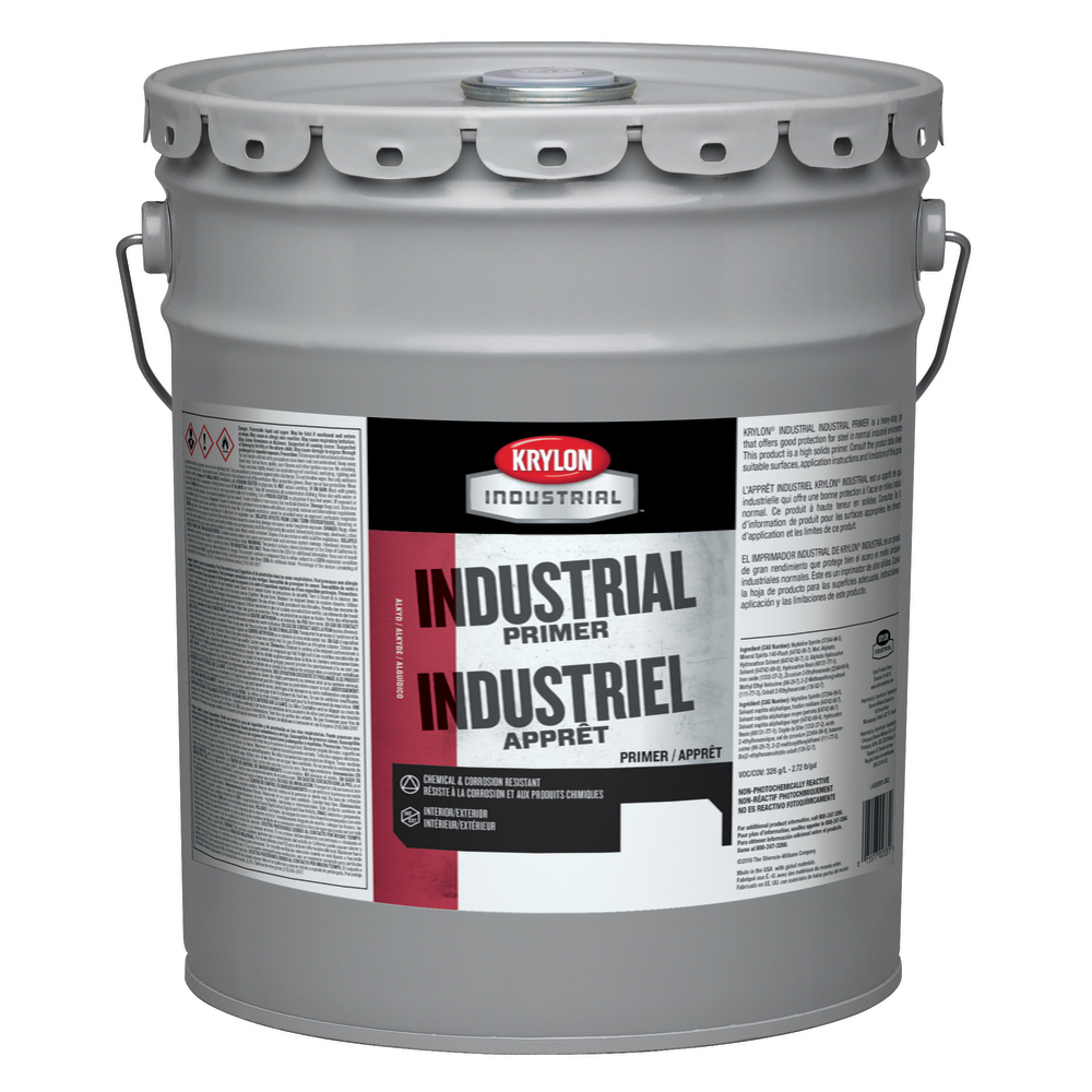 Krylon® K00020001-20 Heavy Duty Water Based Industrial Primer, 5 gal Container, Liquid Form, Red, 441 to 294 sq-ft/gal Coverage