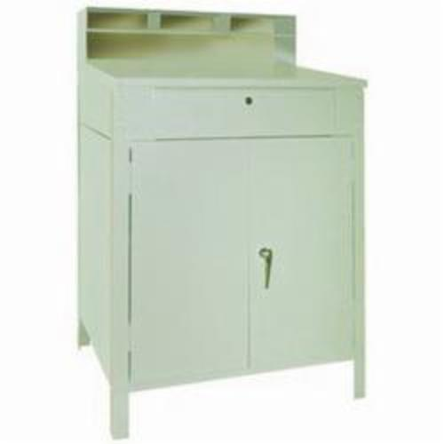 LYON® 2251 Closed Cabinet Desk With Drawer, 52-1/8 in H x 34-1/2 in W x 27-3/4 in D, 4 Pedestals, 1 Drawers