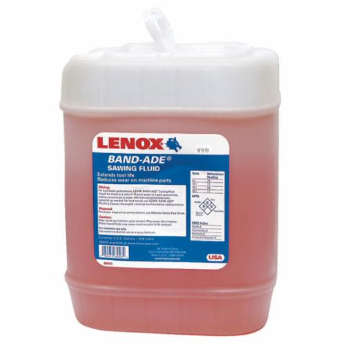 LENOX® BANDSAW 68003 Band Ade® Chlorine Free Semi-Synthetic Bandsaw Fluid, 5 gal Carboy, Petroleum Odor/Scent, Liquid Form, Yellow