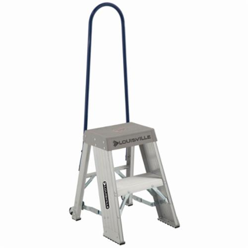 Louisville® AY8002-S55S56 AY8000 Type IA Industrial Heavy Duty Step Stool With Casters and Handle, 2 ft H, 300 lb Load, 2 Steps, Aluminum