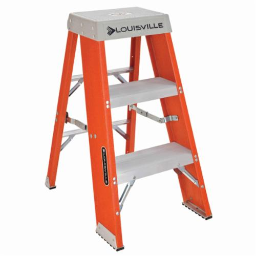 Louisville® AY8003-S55S56 AY8000 Type IA Industrial Heavy Duty Step Stool With Casters and Handle, 3 ft H, 300 lb Load, 3 Steps, Aluminum