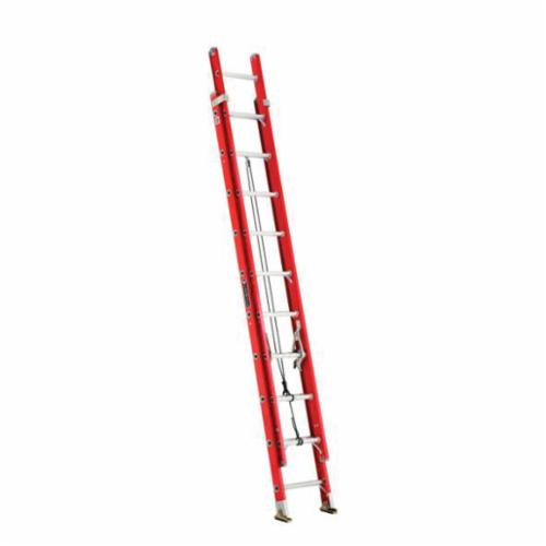 Louisville® FE3220 D-Rung Type IA Extension Ladder, 20 ft OAL, ANSI Code: A14.5, 300 lb Load, Fiberglass, 12 in Adjustable Increments
